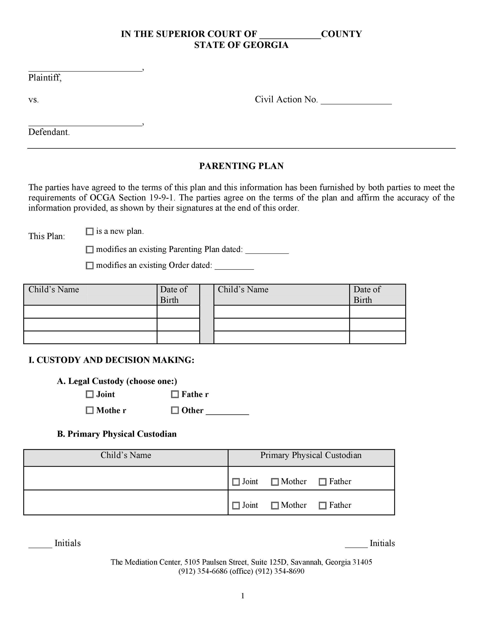 Free parenting plan template 49