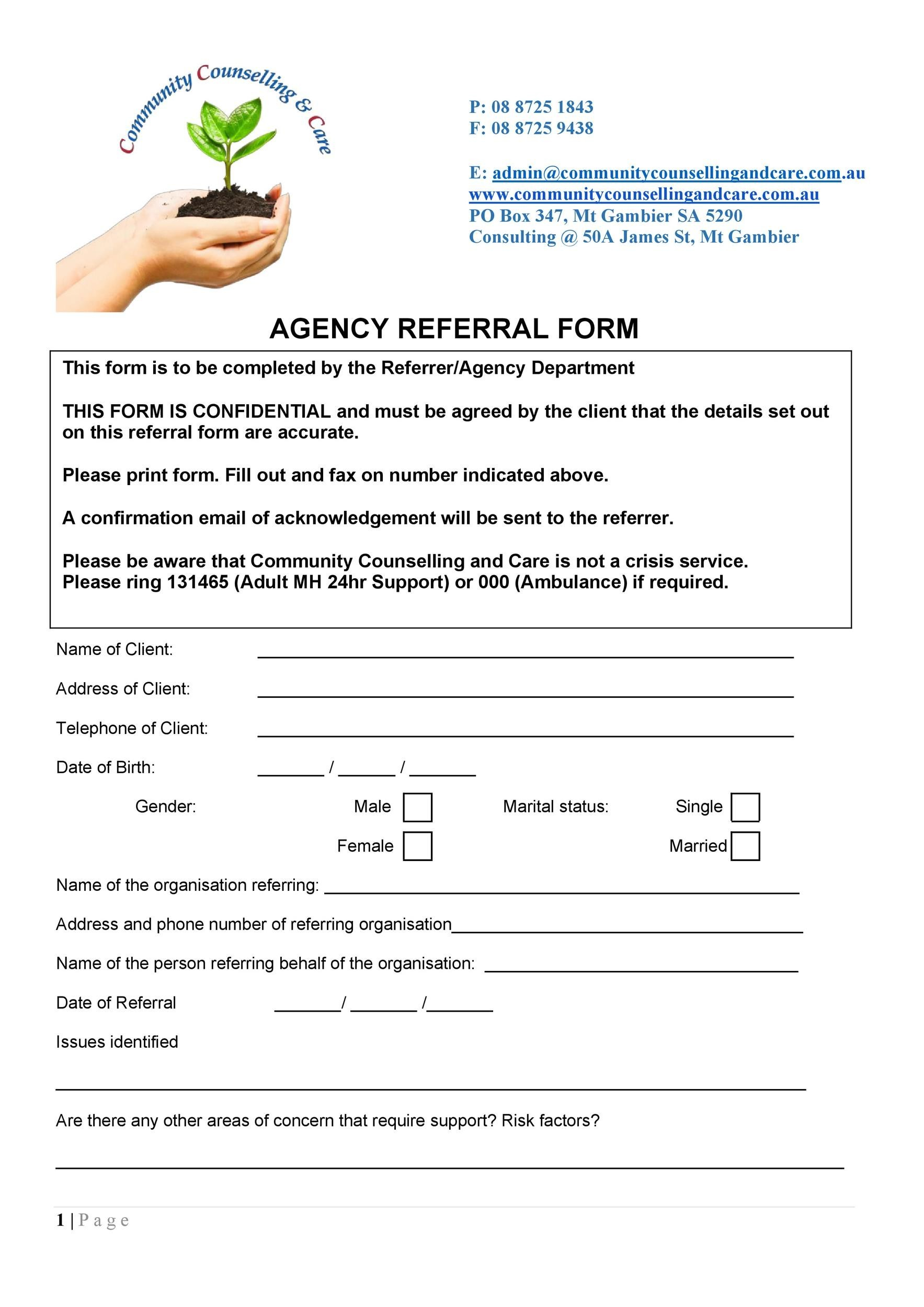 Free referral form template 23
