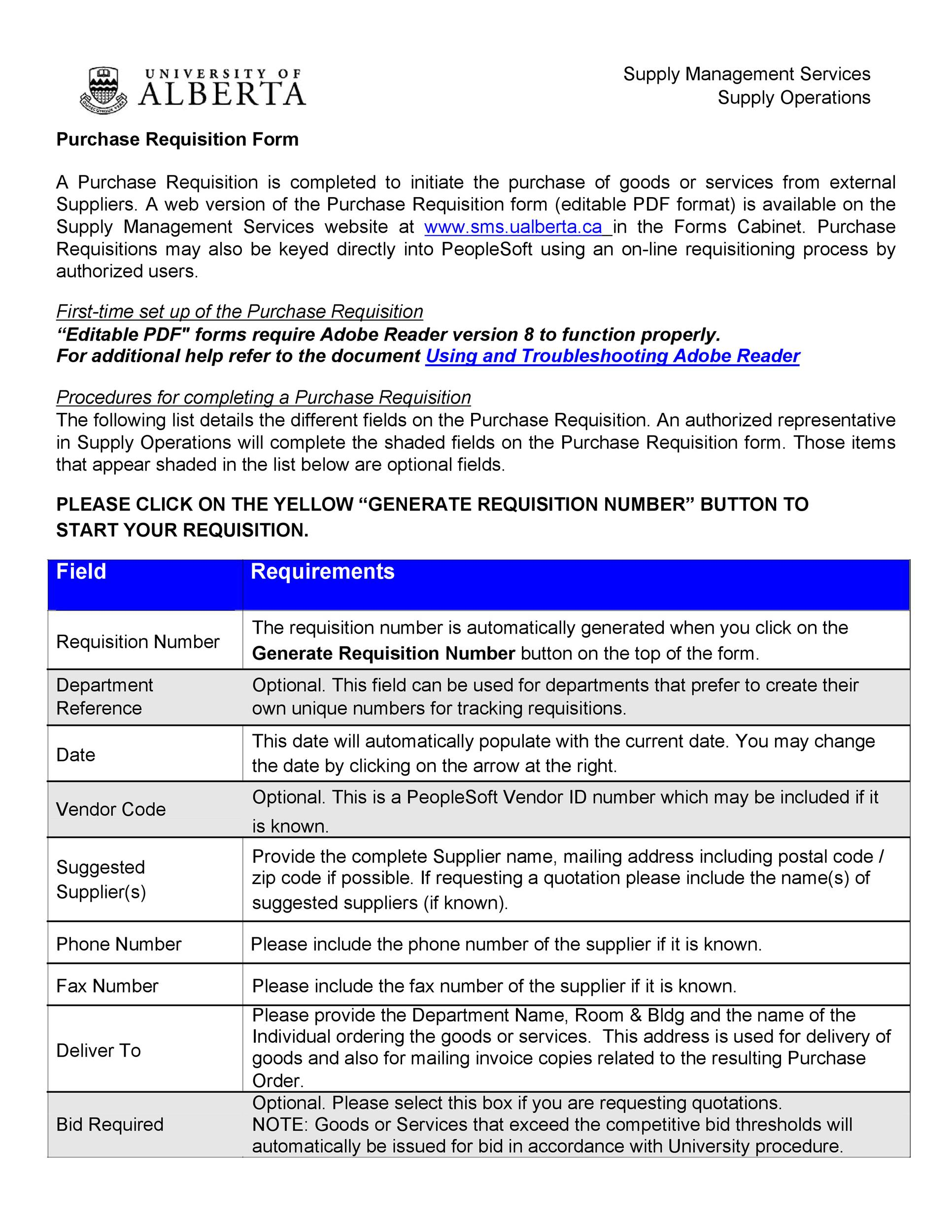 Free requisition form 19