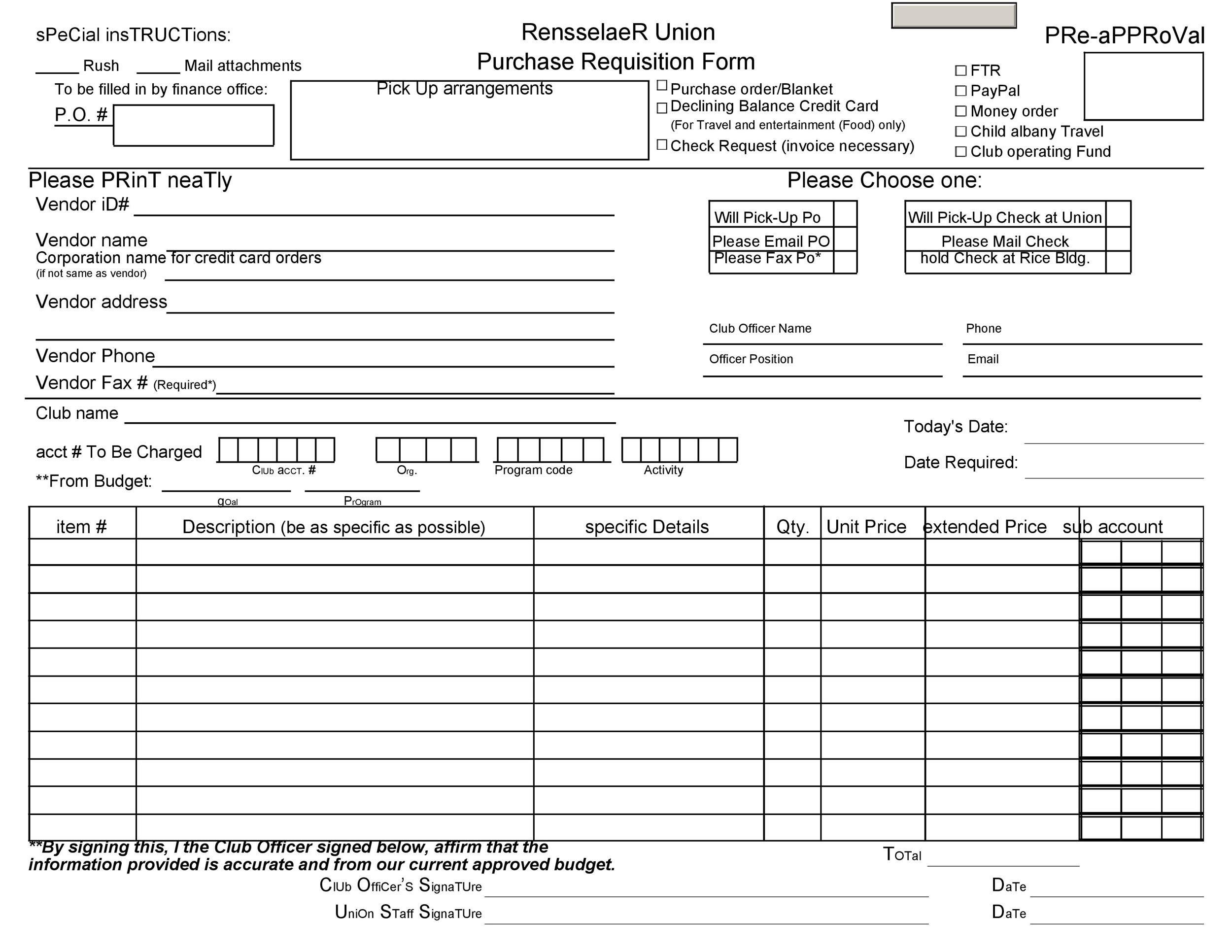 Free requisition form 20
