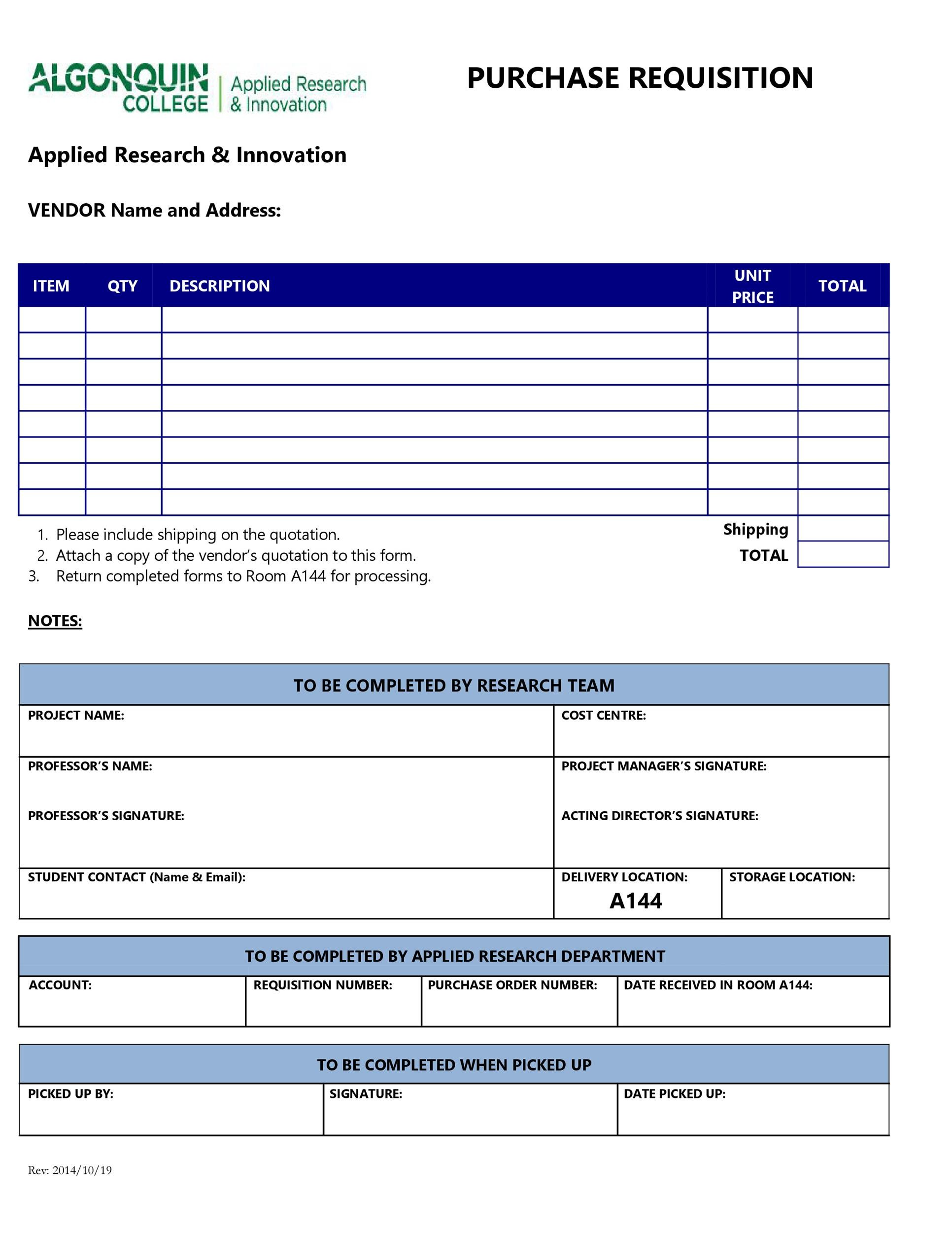 50 Professional Requisition Forms [Purchase / Materials / Lab]