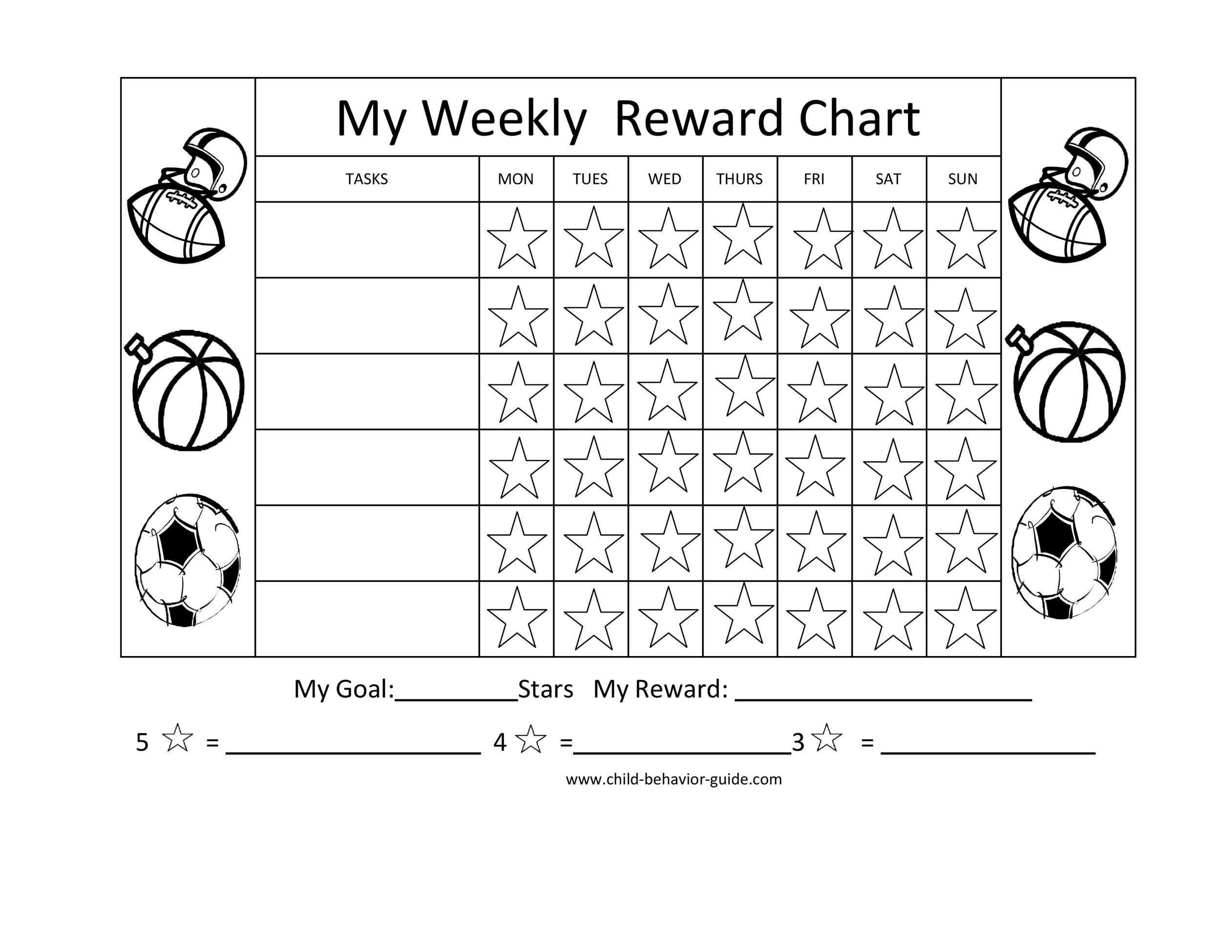 photo about Star Reward Chart Printable known as 40 Printable Benefit Charts for Small children (PDF, Excel Phrase)