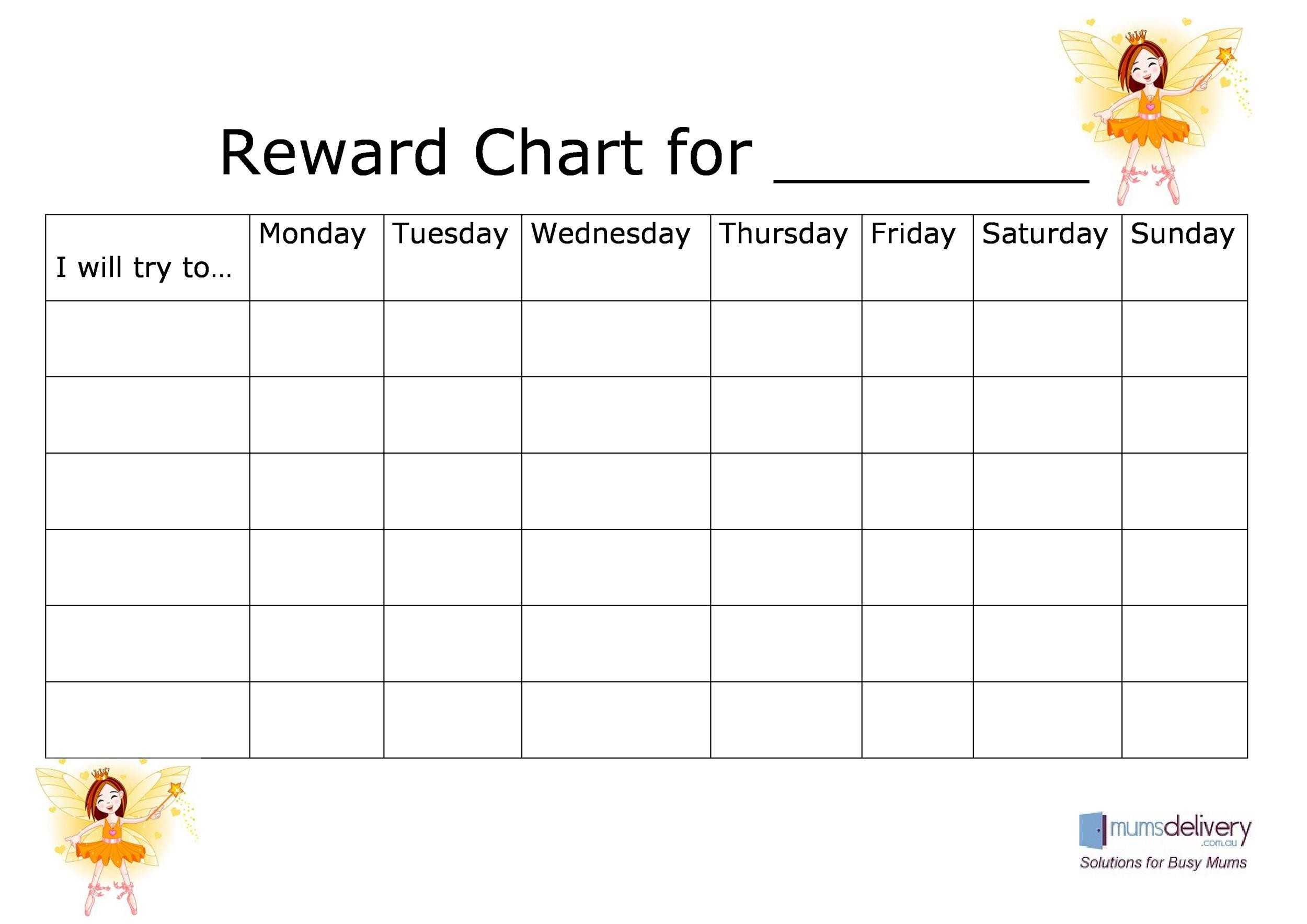 photo regarding Reward Chart Printable identify 40 Printable Benefit Charts for Young children (PDF, Excel Phrase)