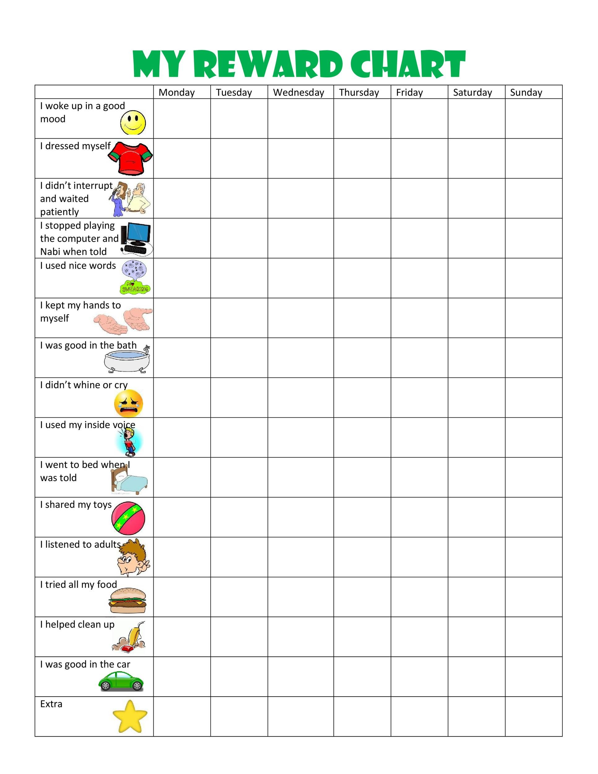 photograph relating to Free Printable Sticker Chart named 40 Printable Advantage Charts for Youngsters (PDF, Excel Phrase)