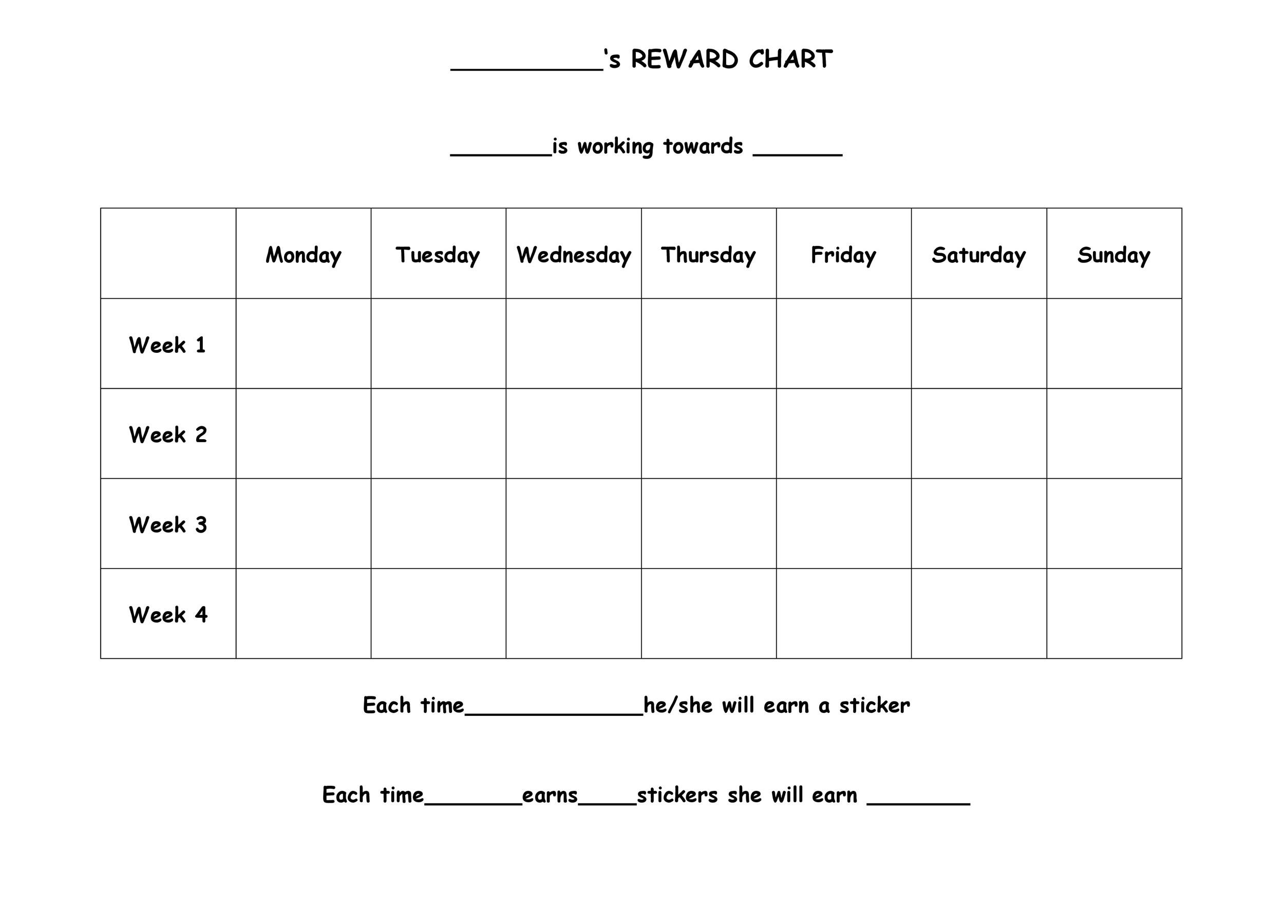 photograph about Sticker Chart Printable Pdf named 40 Printable Benefit Charts for Youngsters (PDF, Excel Phrase)