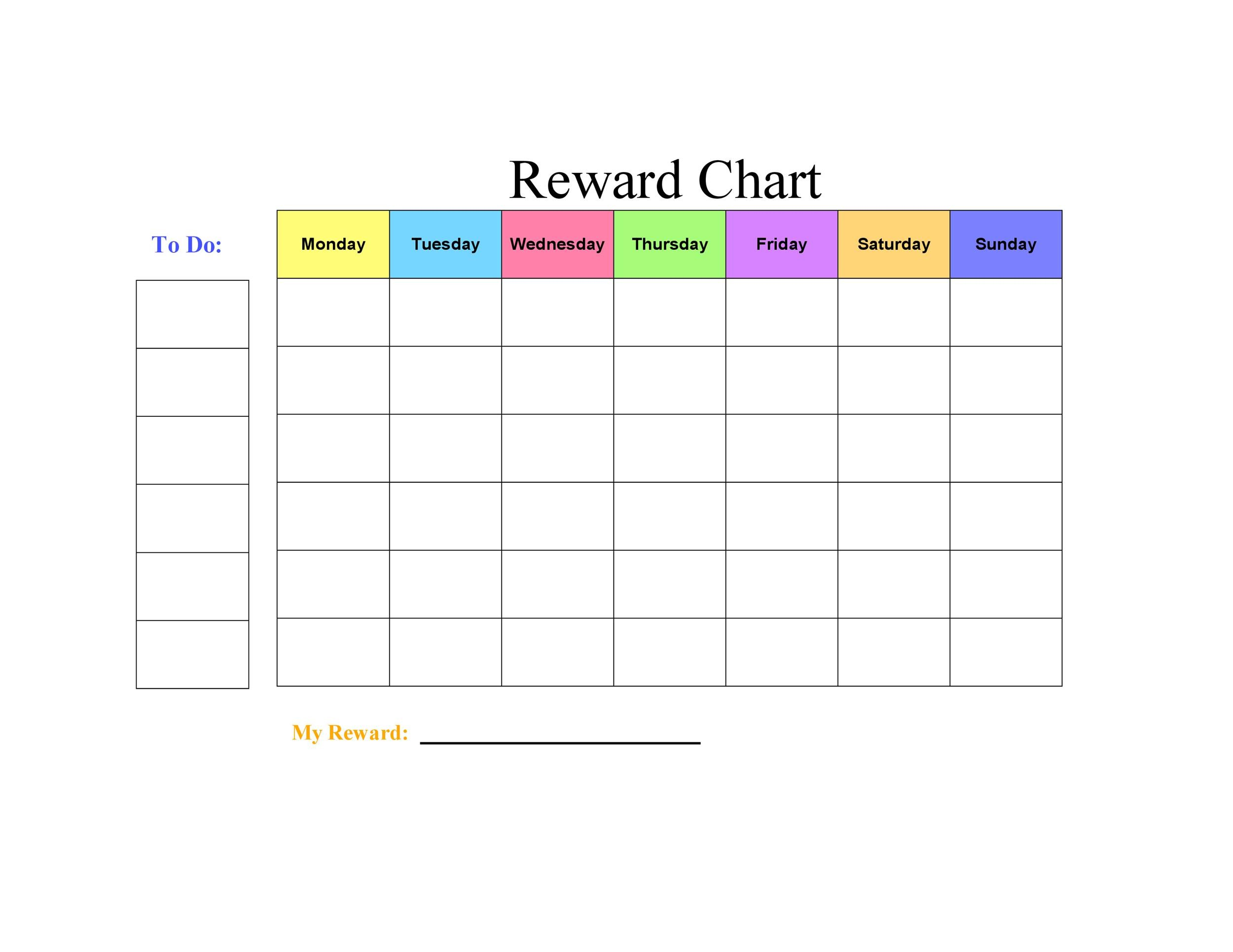 image about Sticker Chart Printable Pdf called 40 Printable Advantage Charts for Youngsters (PDF, Excel Phrase)