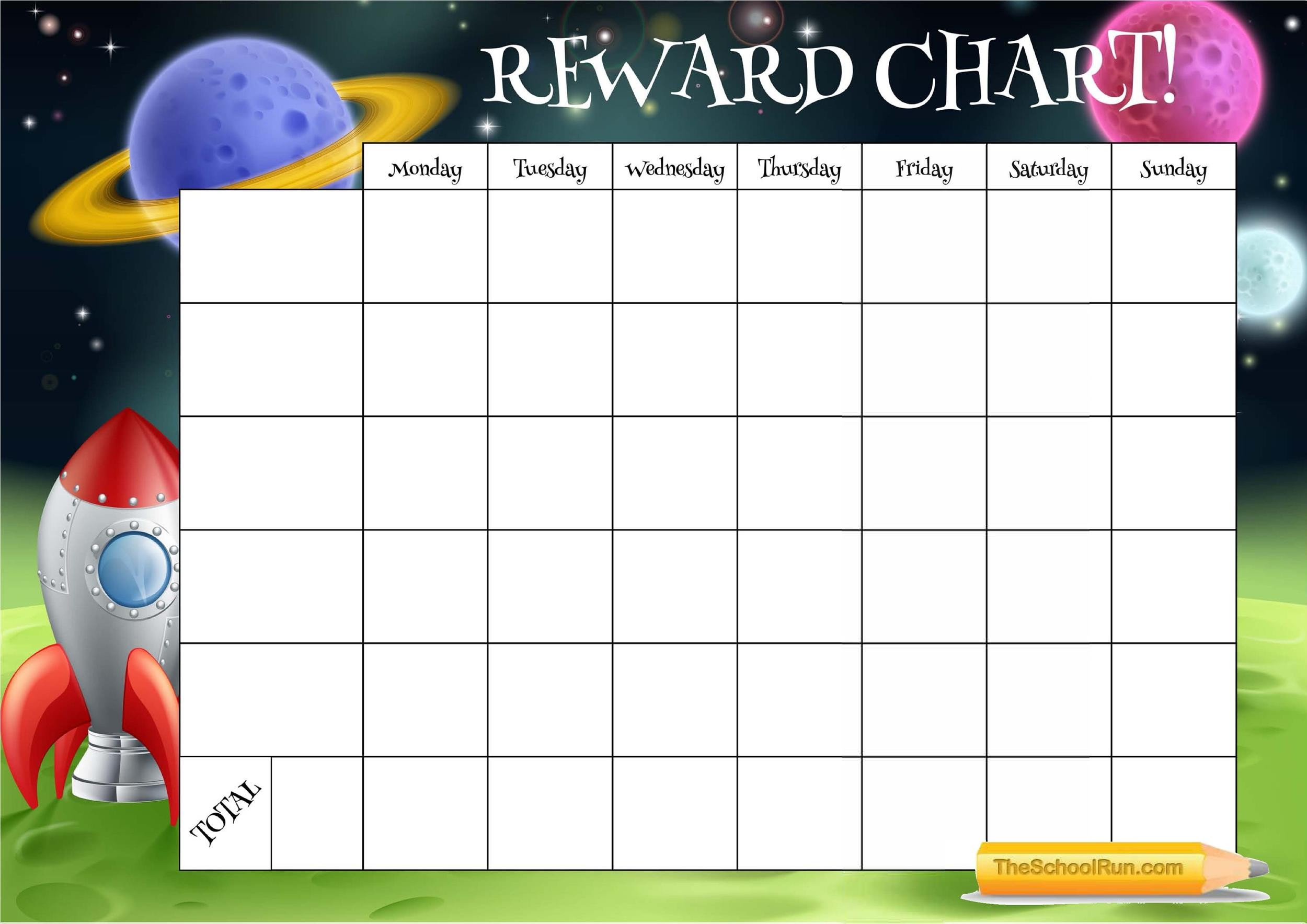 This is a graphic of Witty Rewards Chart Template