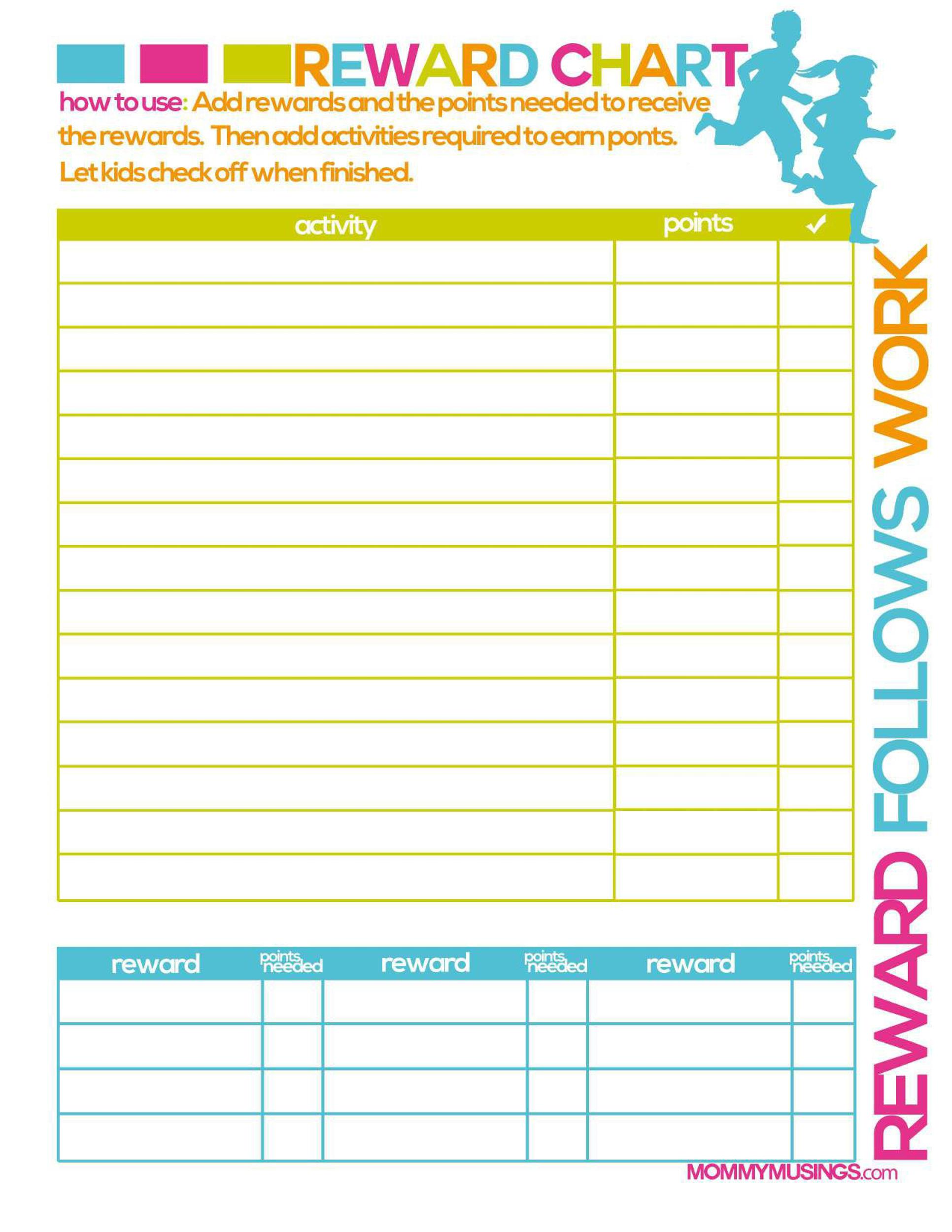 image about Toddler Reward Chart Printable identified as 40 Printable Advantage Charts for Youngsters (PDF, Excel Phrase)