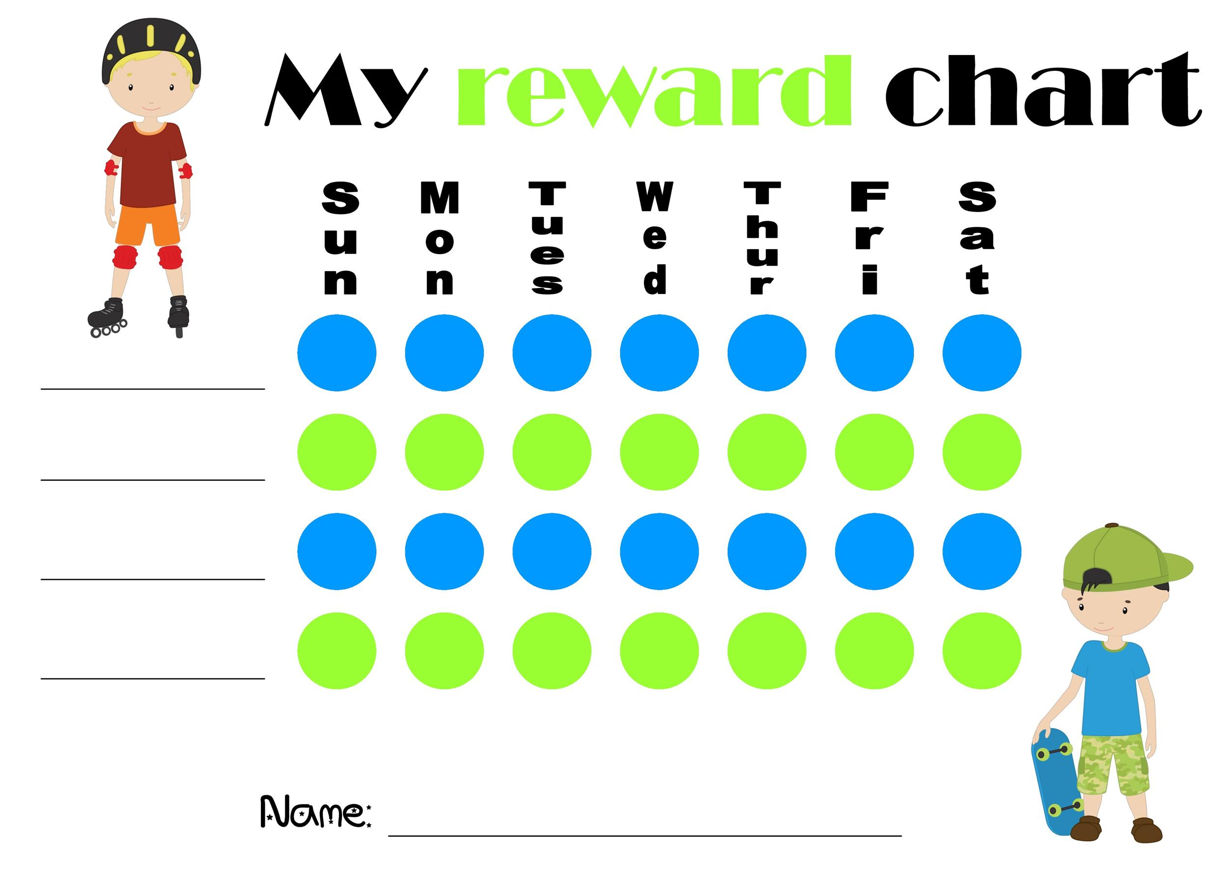 image regarding Free Printable Reward Charts identified as 40 Printable Benefit Charts for Youngsters (PDF, Excel Term)
