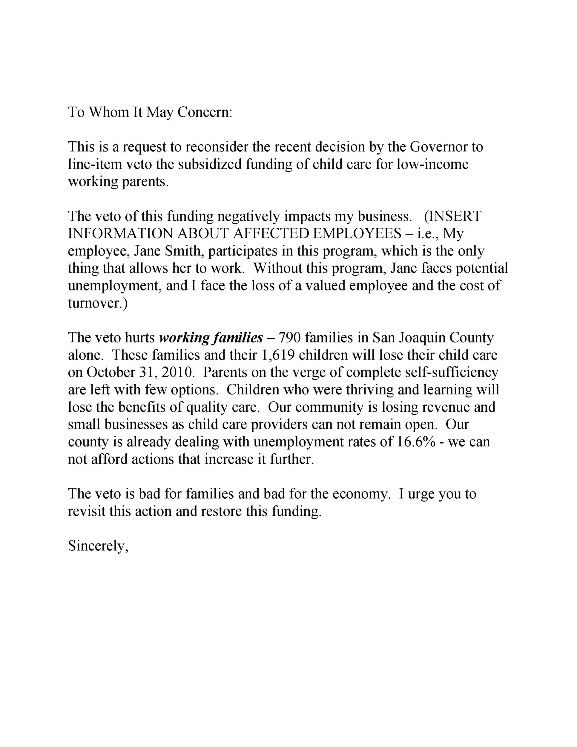 Free to whom it may concern letter 42