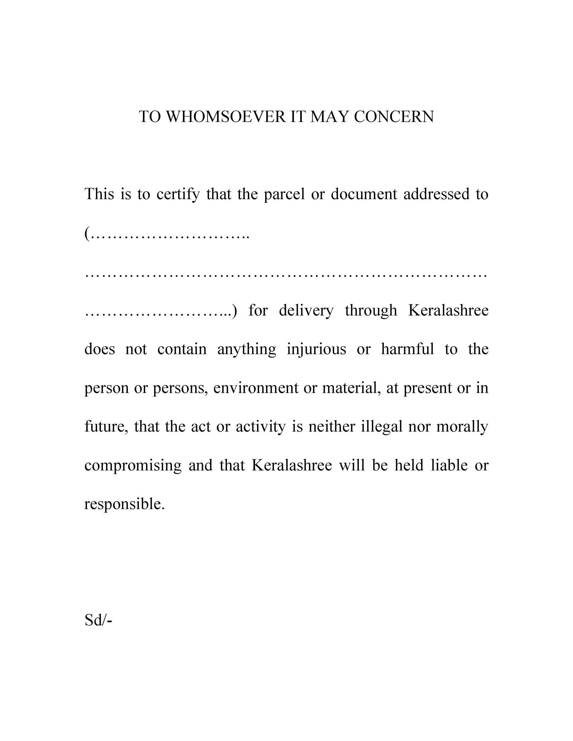 Free to whom it may concern letter 50