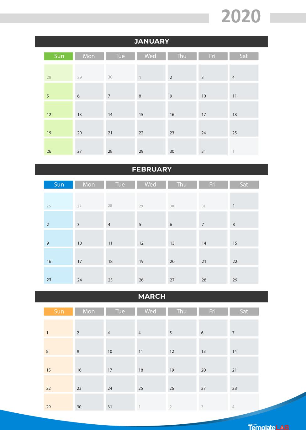 Free 2020 Quarterly Calendar v2
