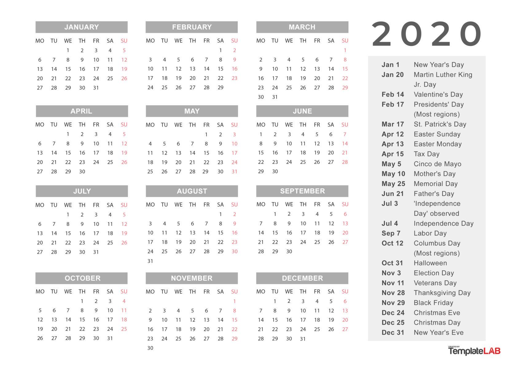 Free Holidays Calendar - 2020 - 1