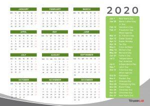 Holidays Calendar - 2020 - 2