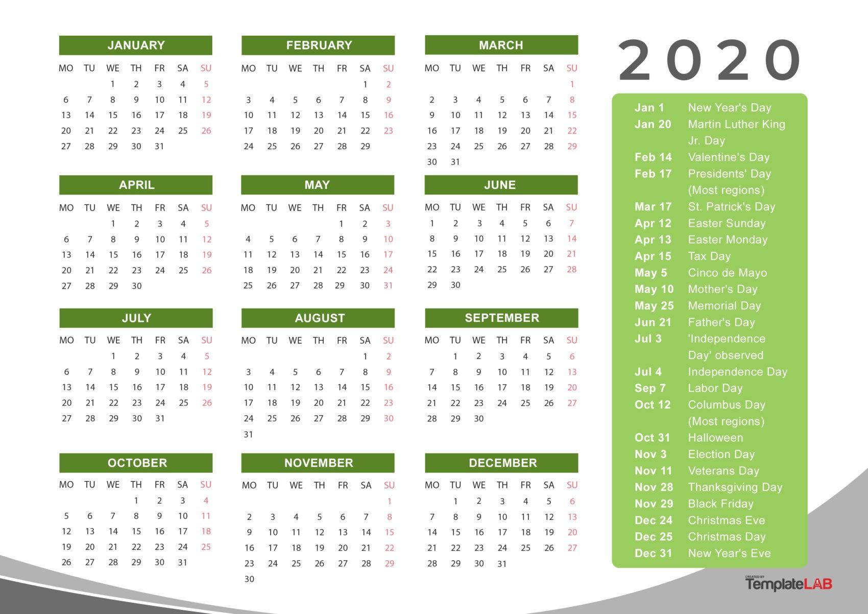 Free Holidays Calendar - 2020 - 2