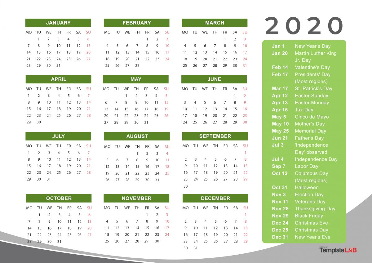 image about Free Printable Monthly Calendar With Holidays named 2020 Printable Calendars [Month to month, with Holiday seasons, On a yearly basis] ᐅ