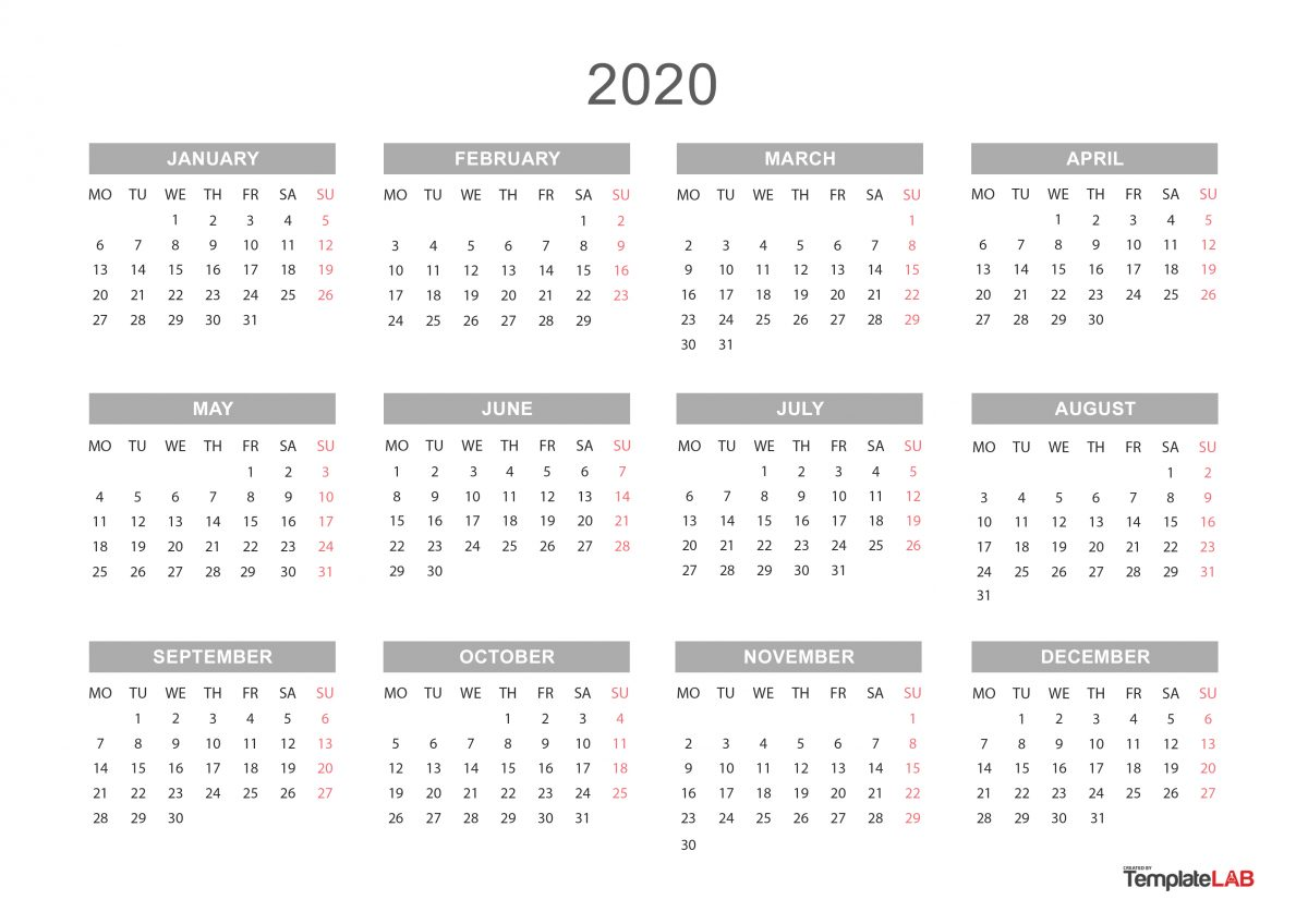 2020 Yearly Calendar Template 2020 Printable Calendars [Monthly, with Holidays, Yearly] ᐅ