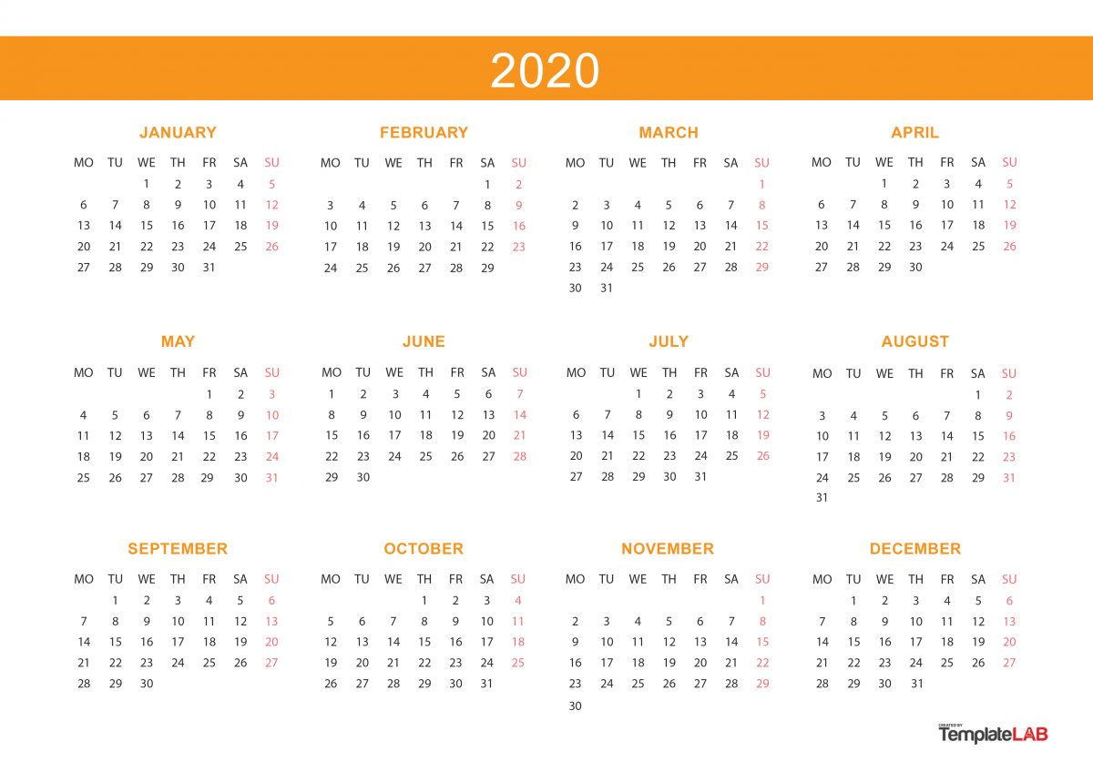 2020 printable calendars  monthly  with holidays  yearly   u1405 templatelab
