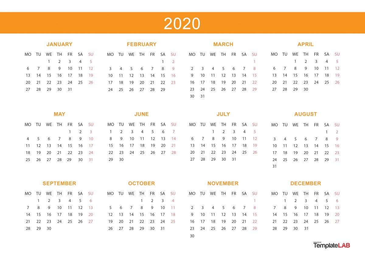 Free Yearly Calendar - 2020 - 2