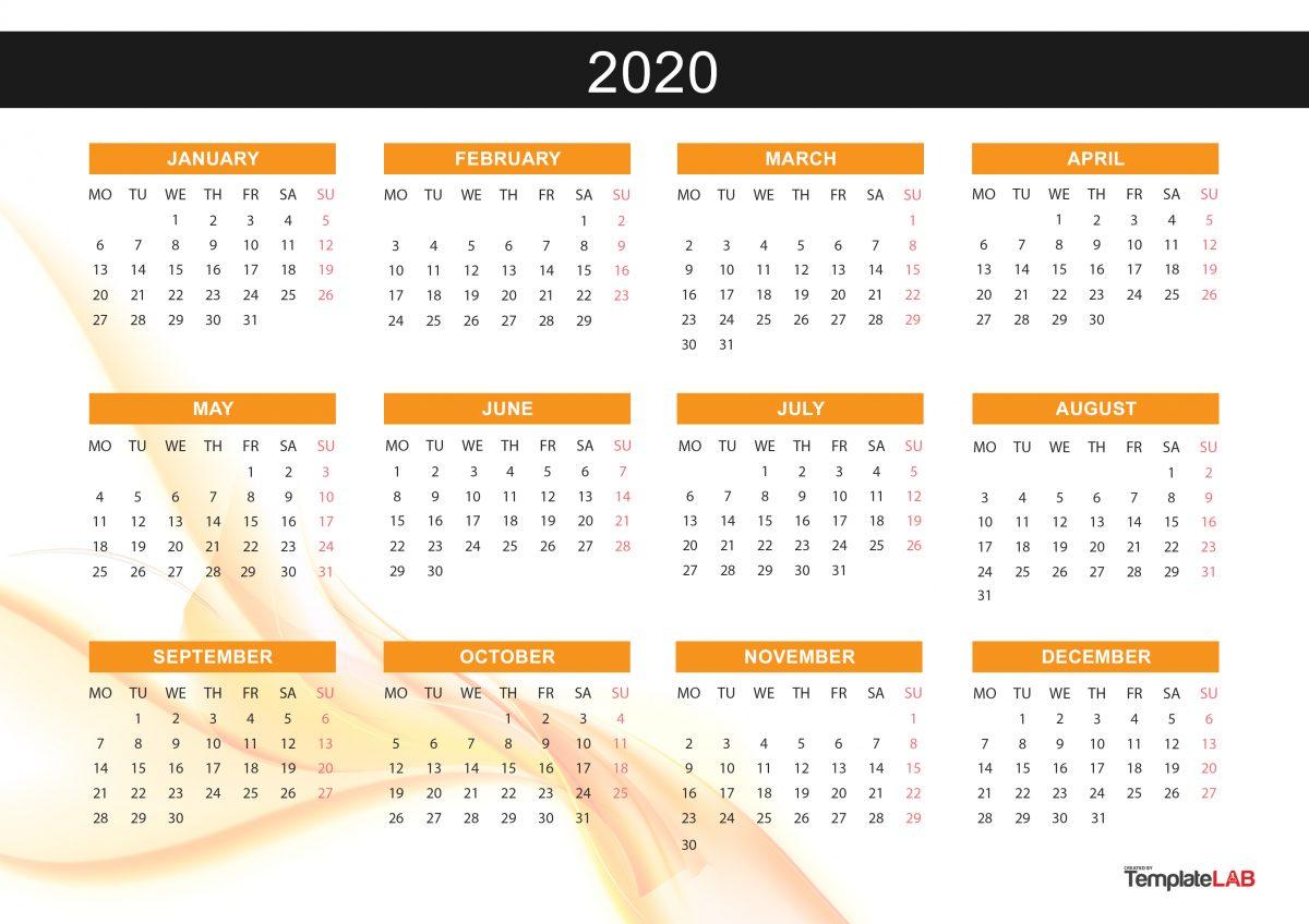 Free Yearly Calendar - 2020 - 3