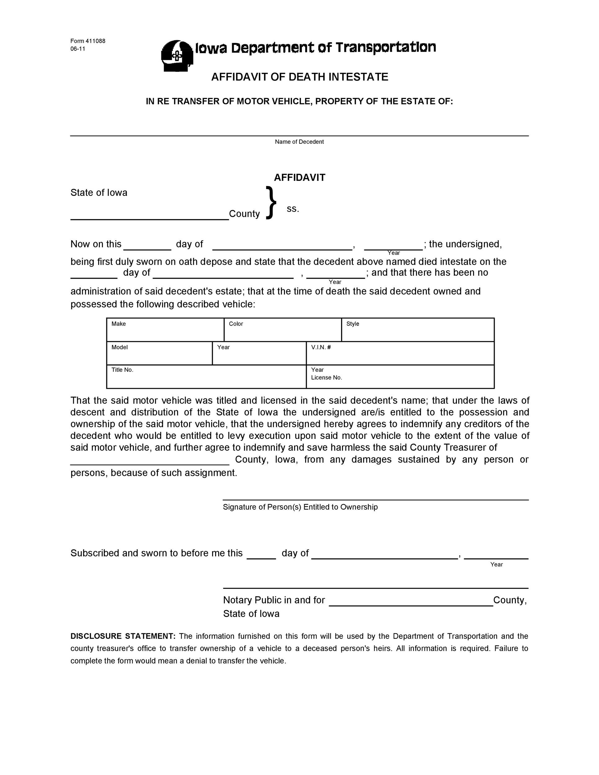 Free affidavit of death 01