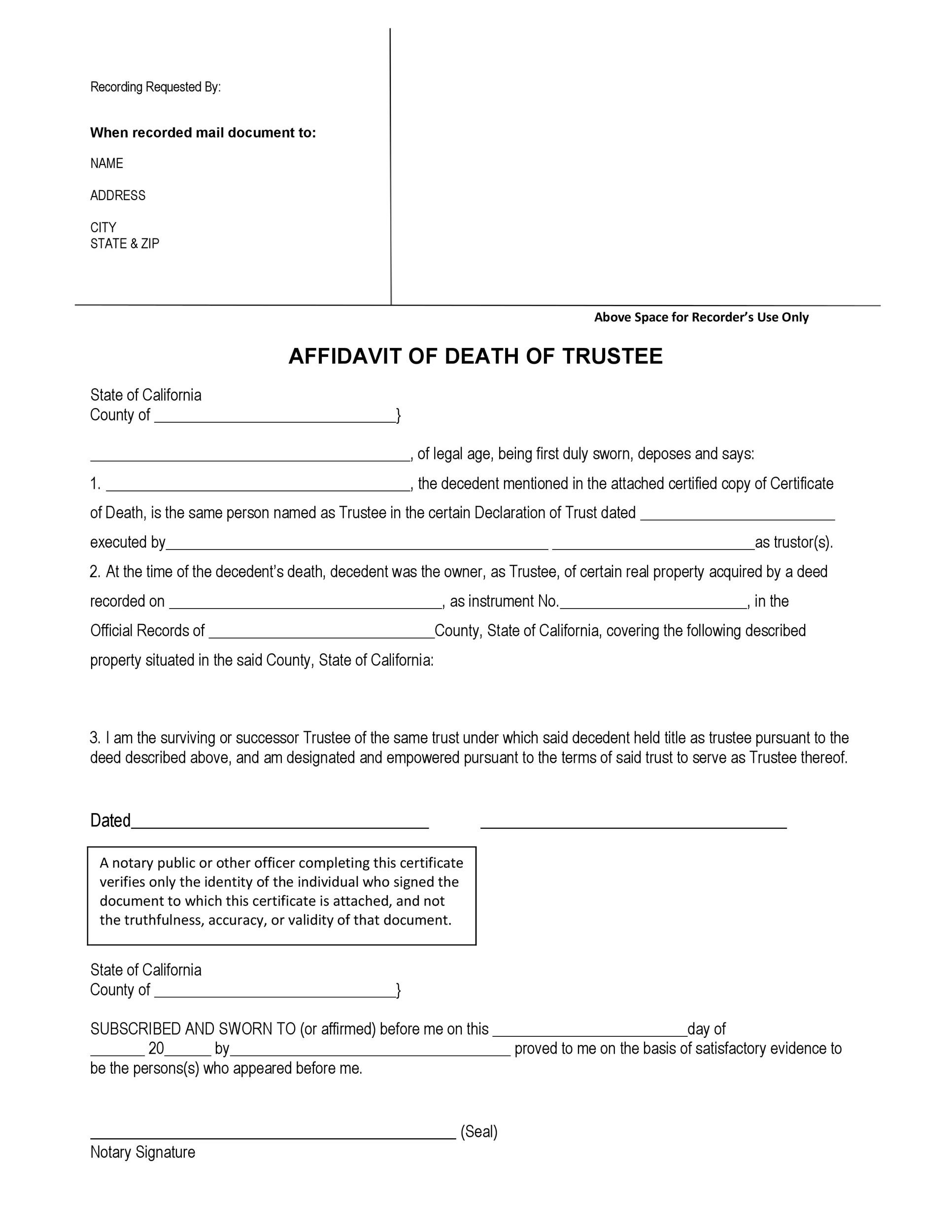 Free affidavit of death 03