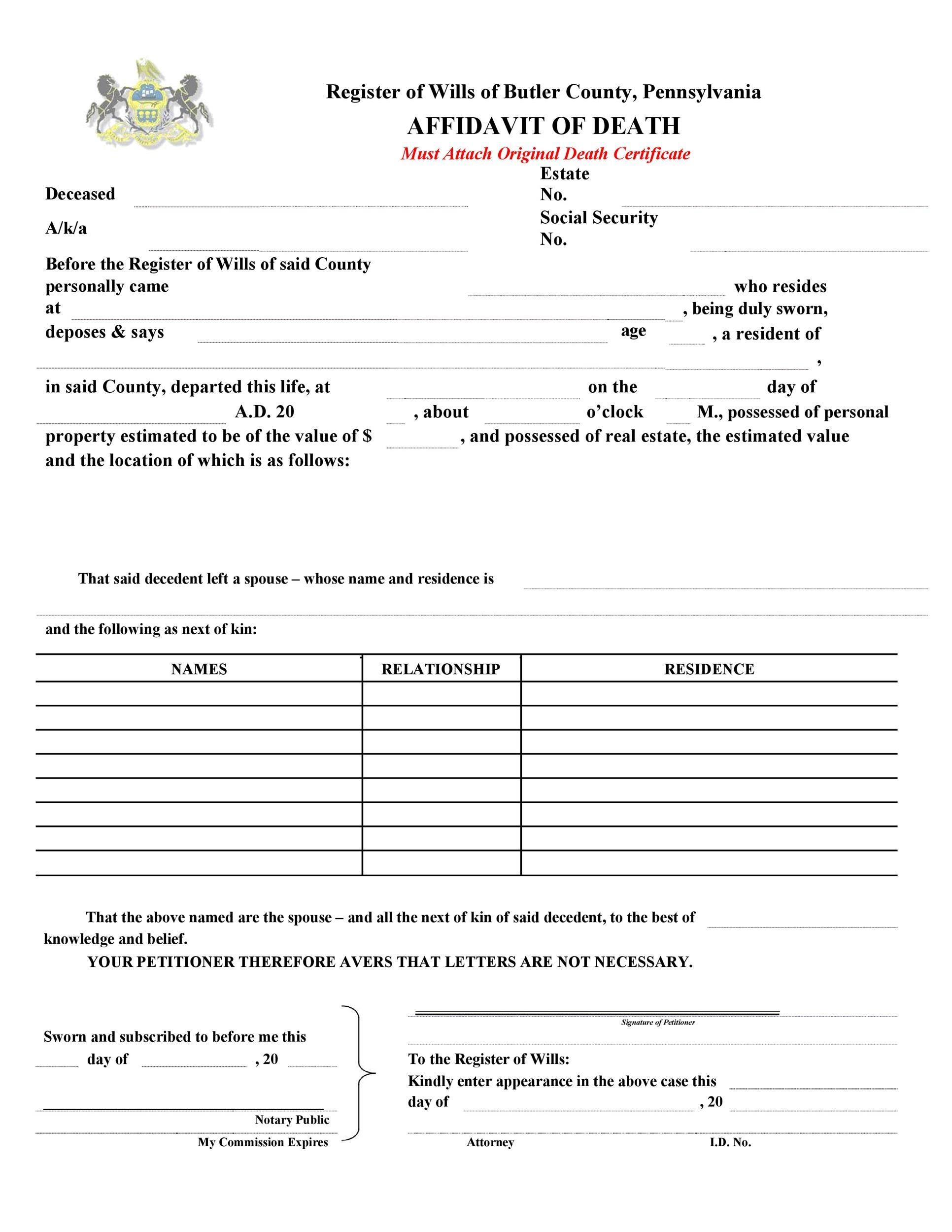 Free affidavit of death 05