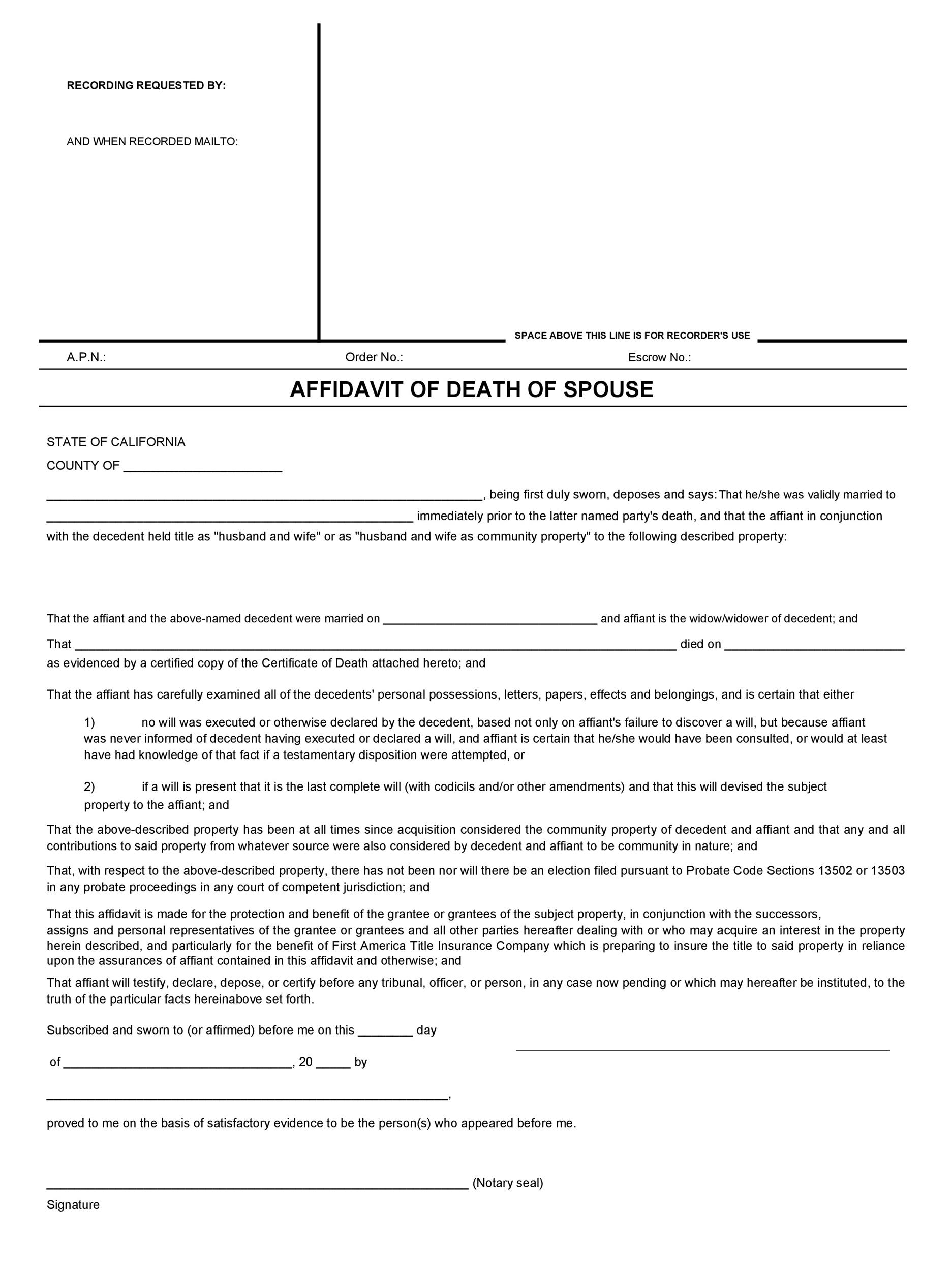 Free affidavit of death 06