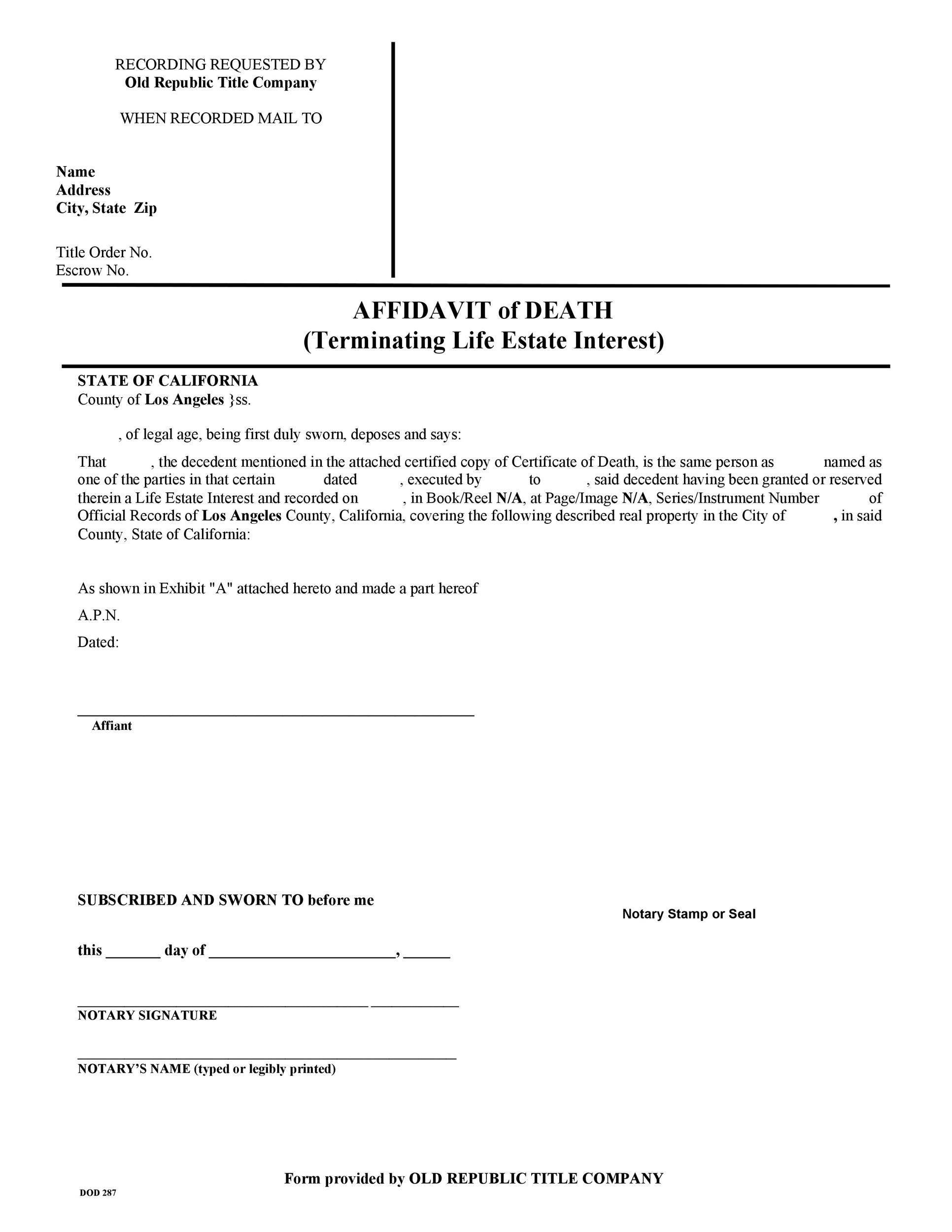 Free affidavit of death 07