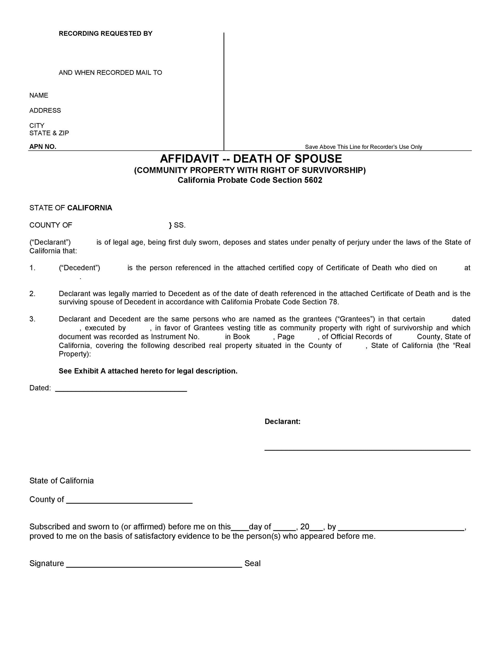 Free affidavit of death 08