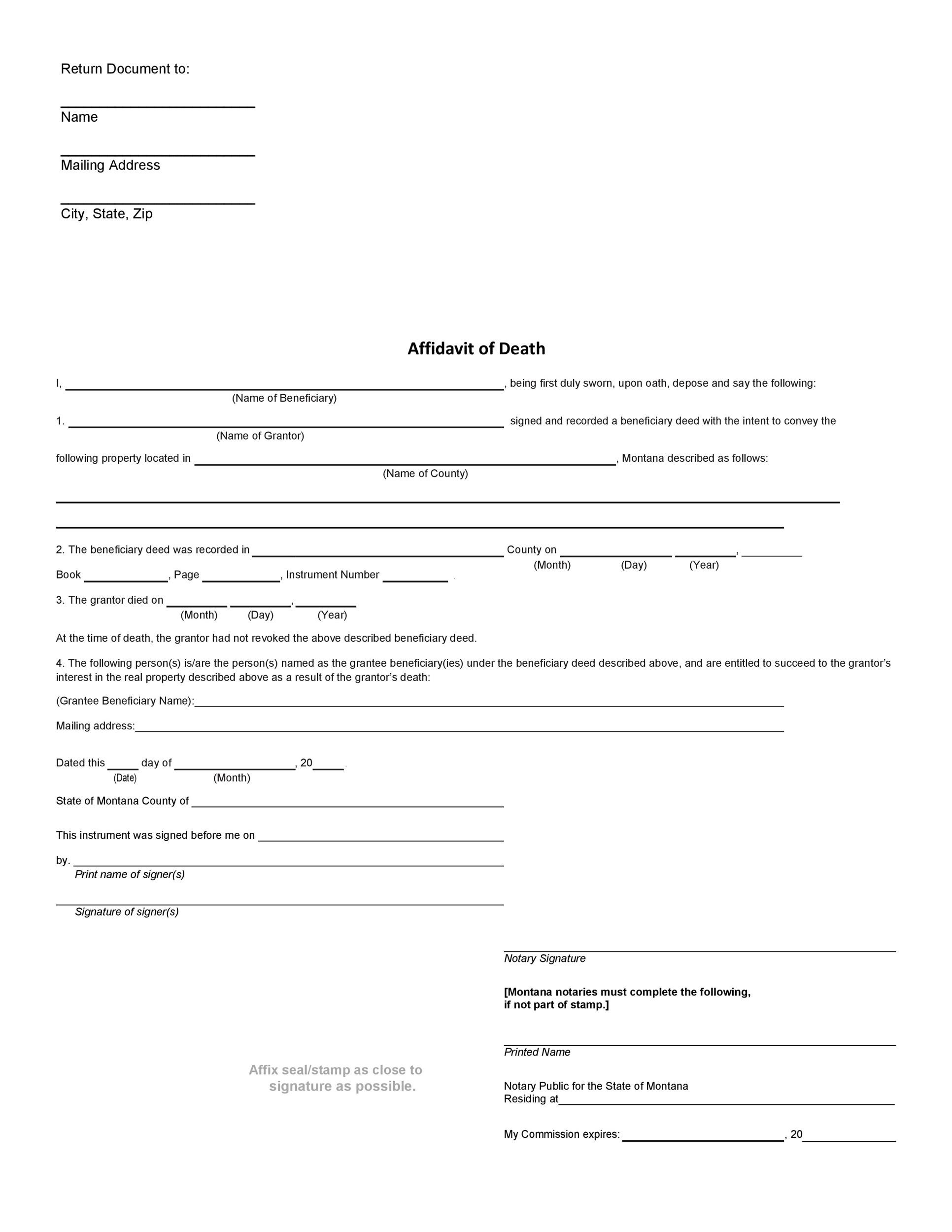 Free affidavit of death 11