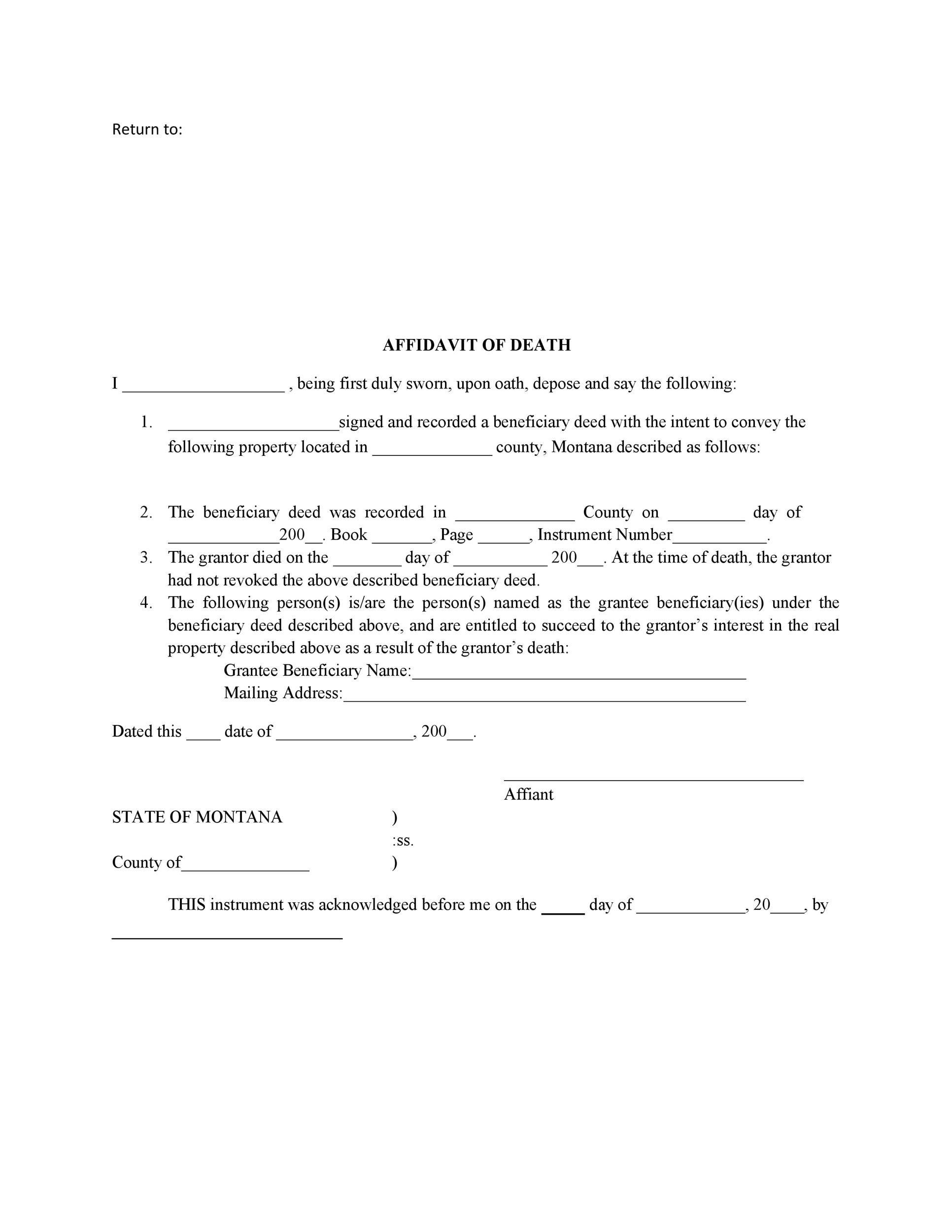 Free affidavit of death 12