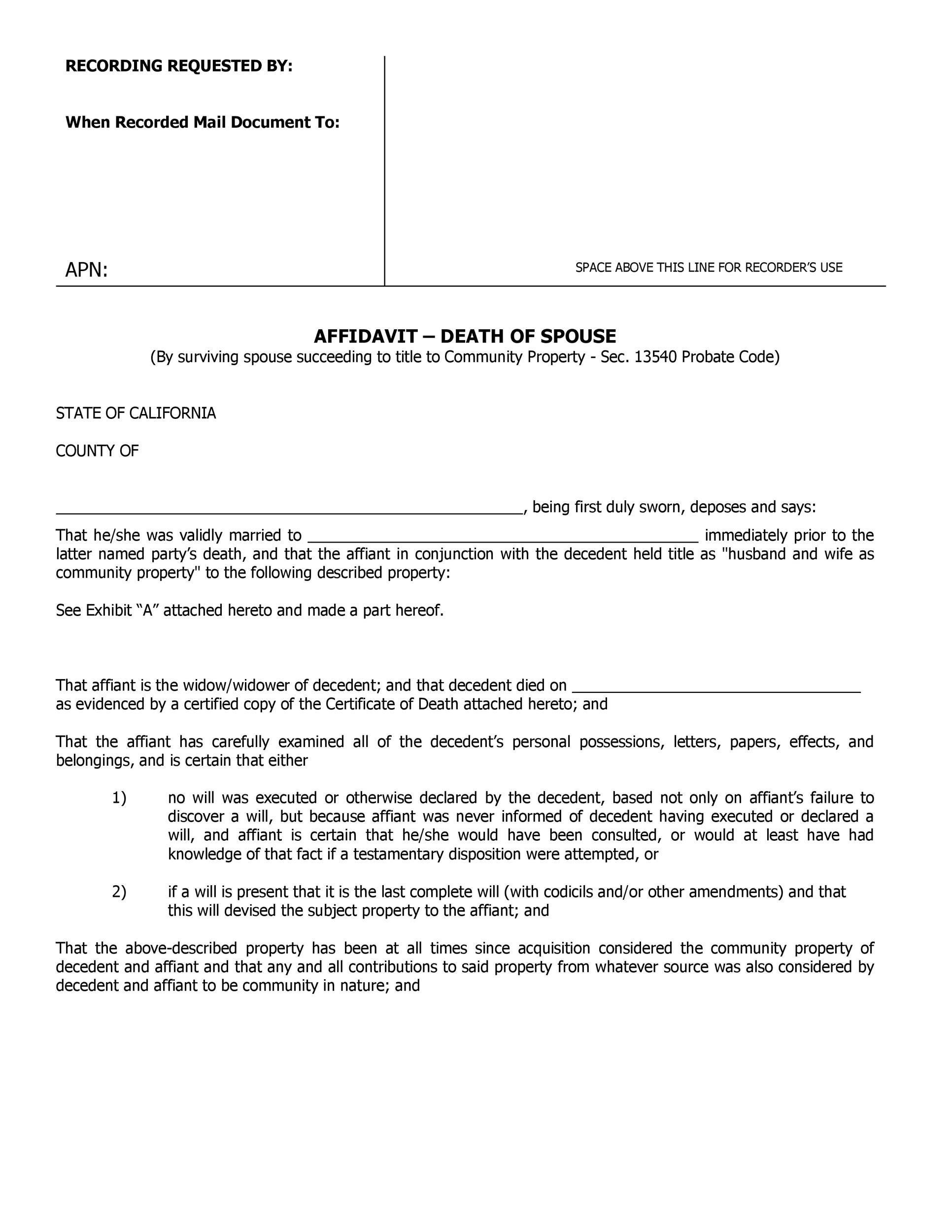 Free affidavit of death 15