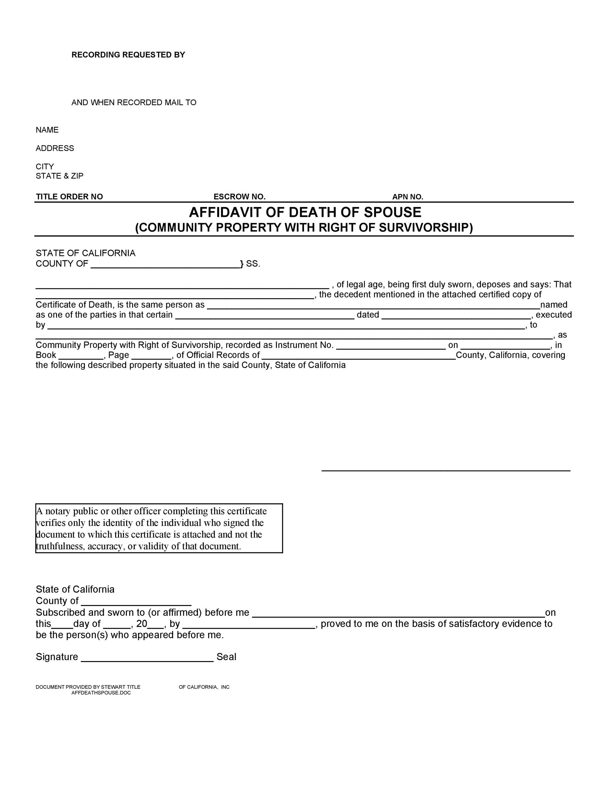 Free affidavit of death 17