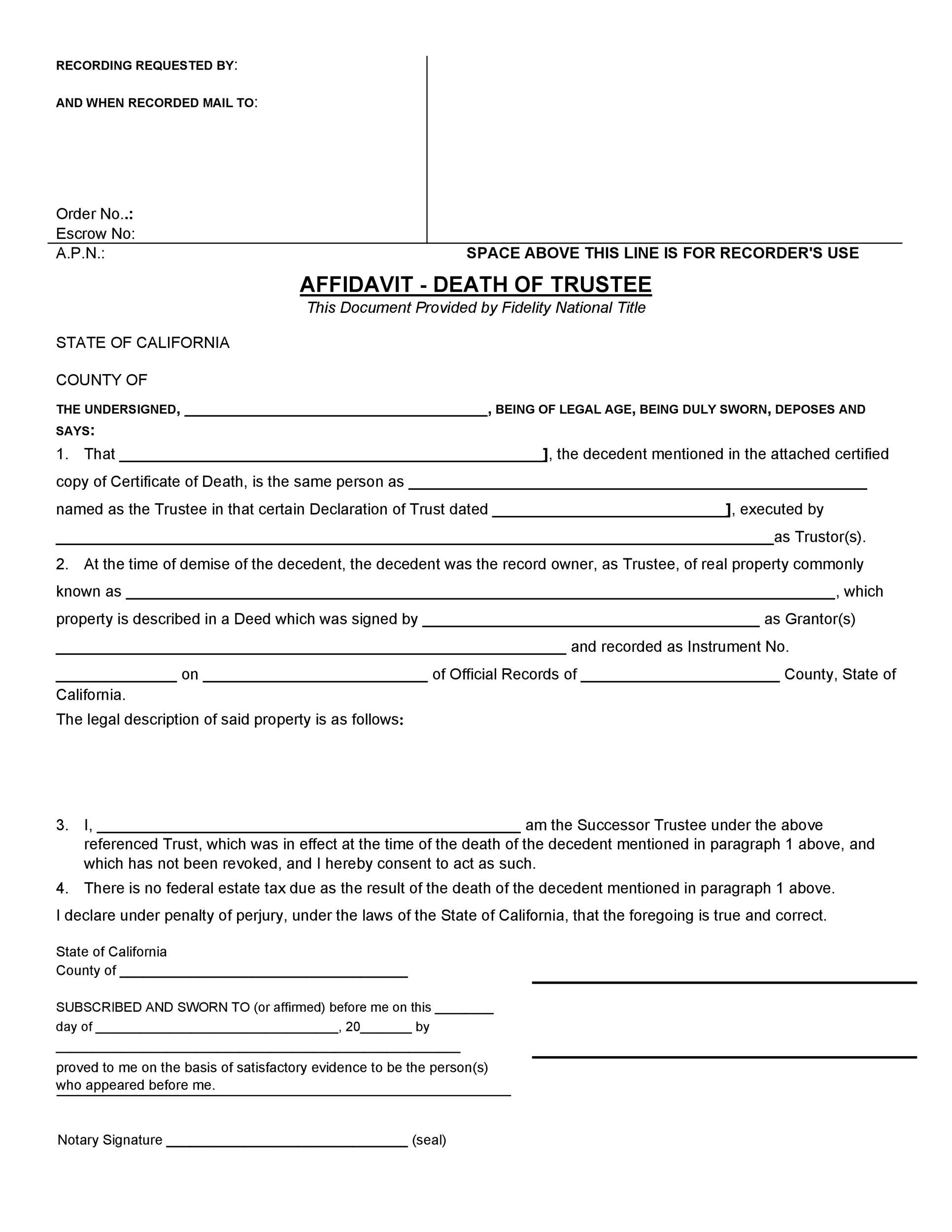 Free affidavit of death 18