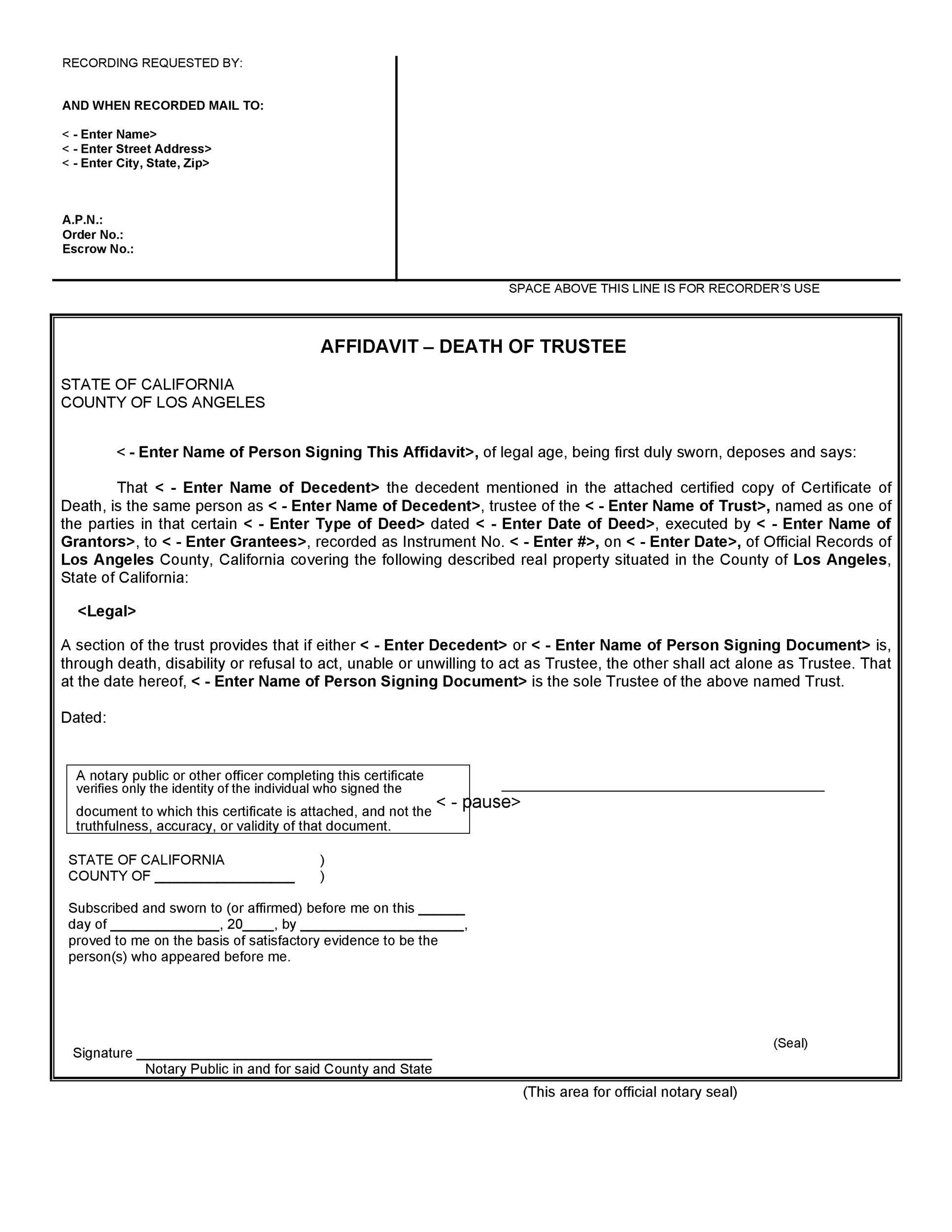 Free affidavit of death 21