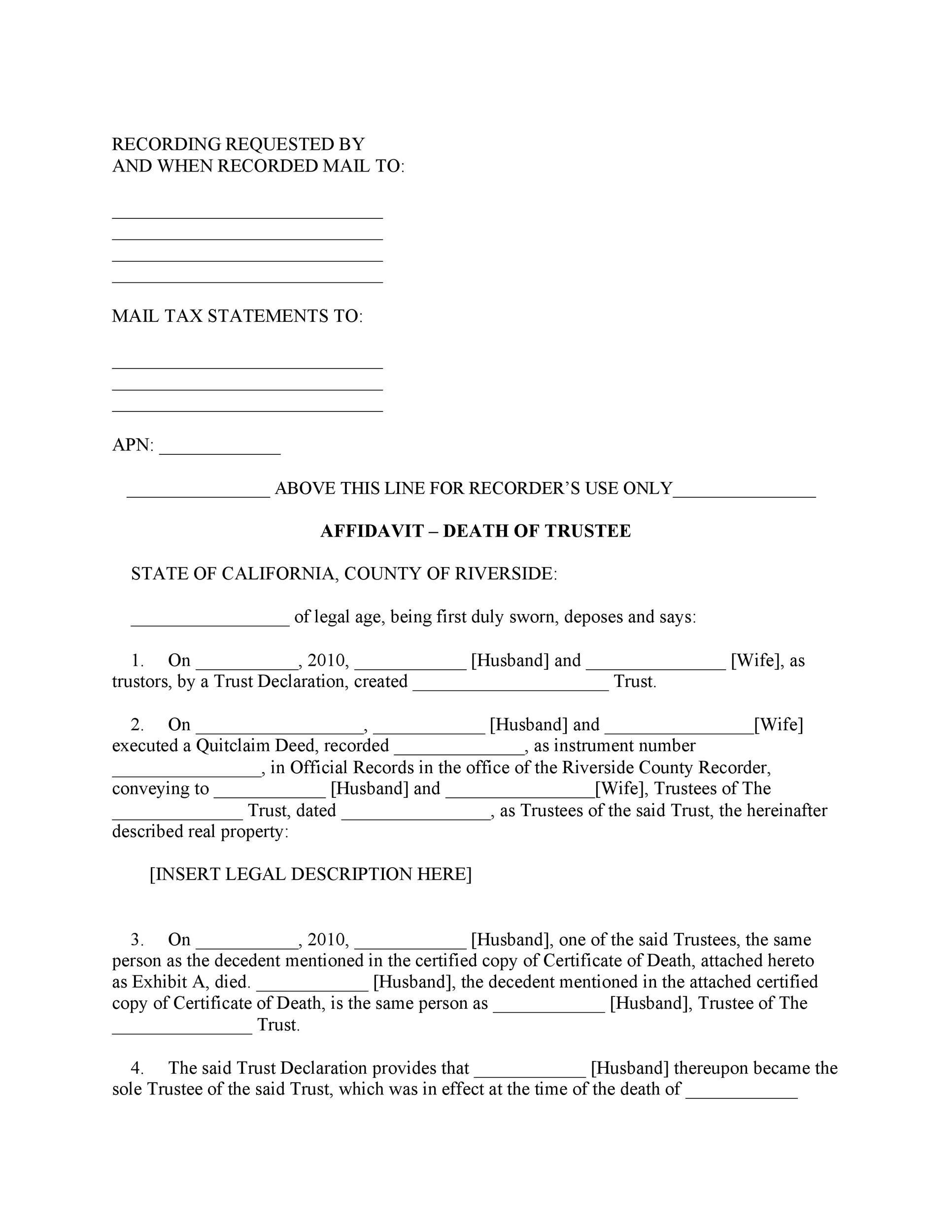 Free affidavit of death 23
