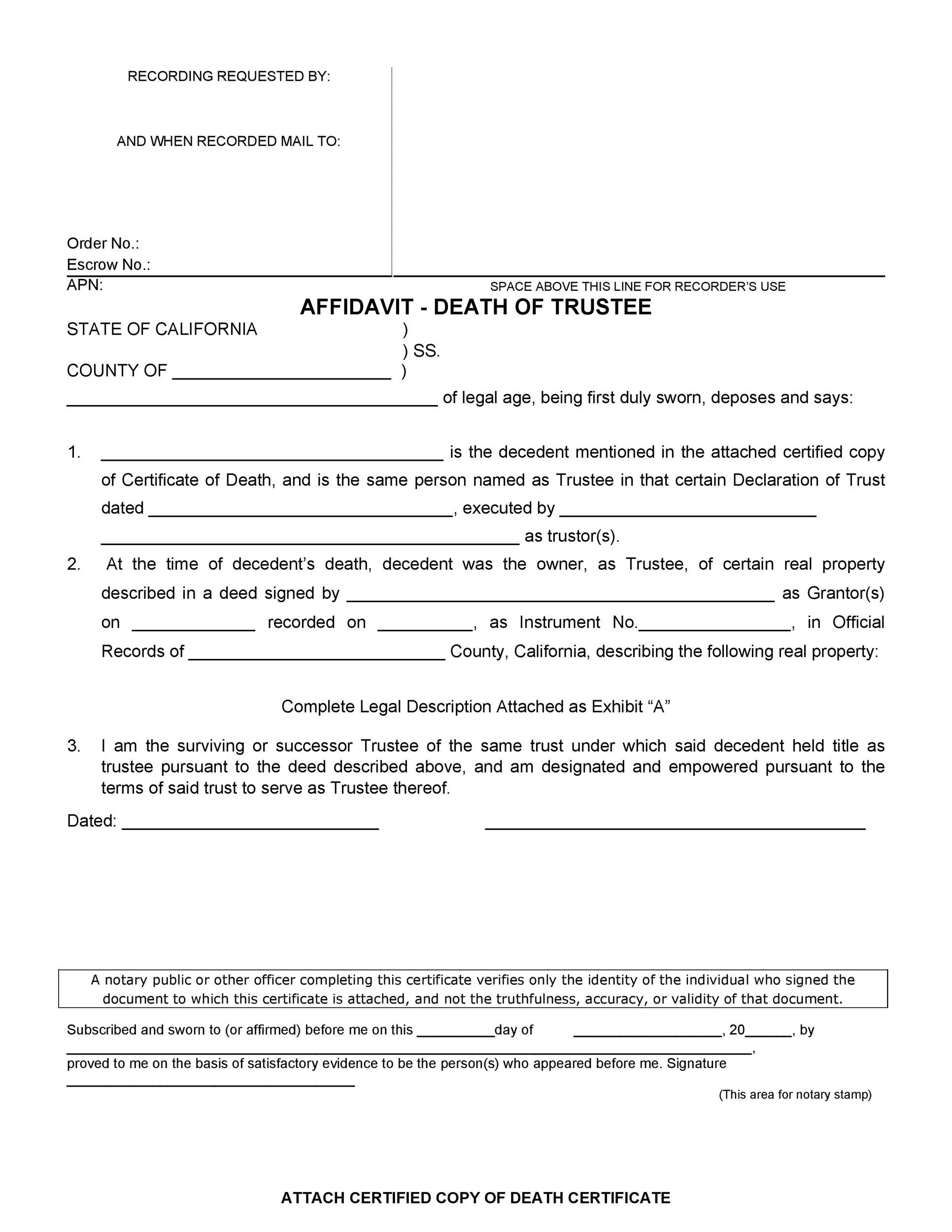Free affidavit of death 26