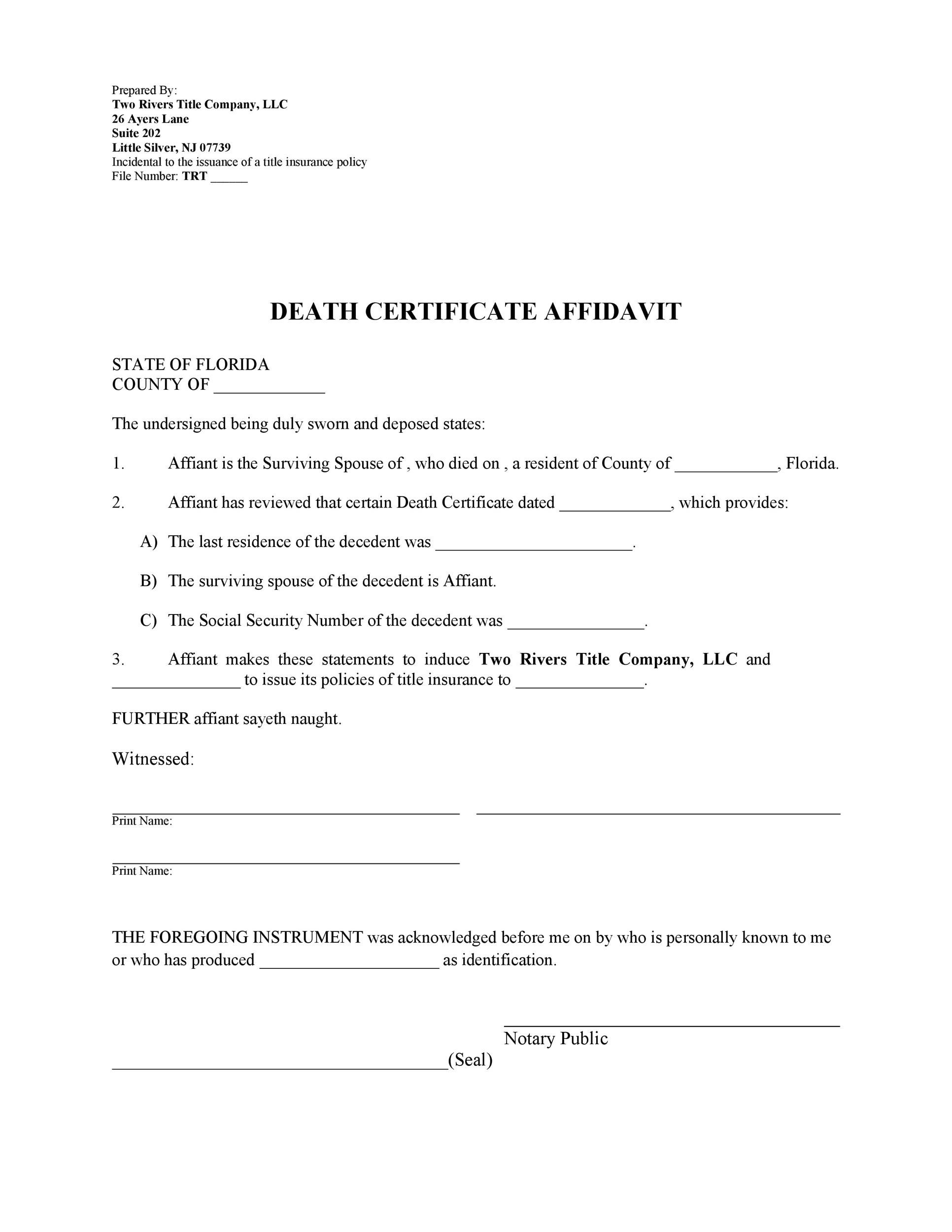 Free affidavit of death 27