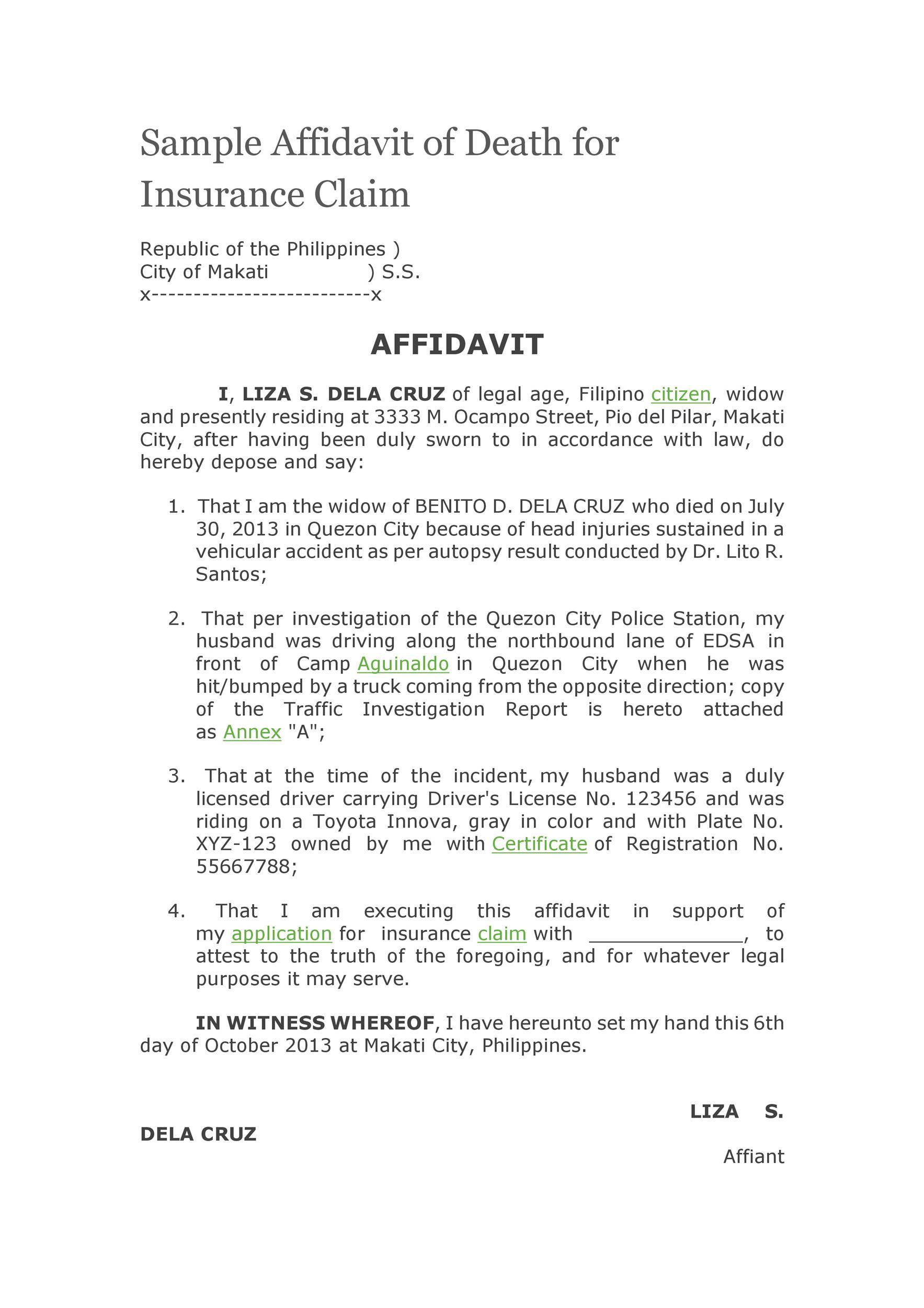 Free affidavit of death 32