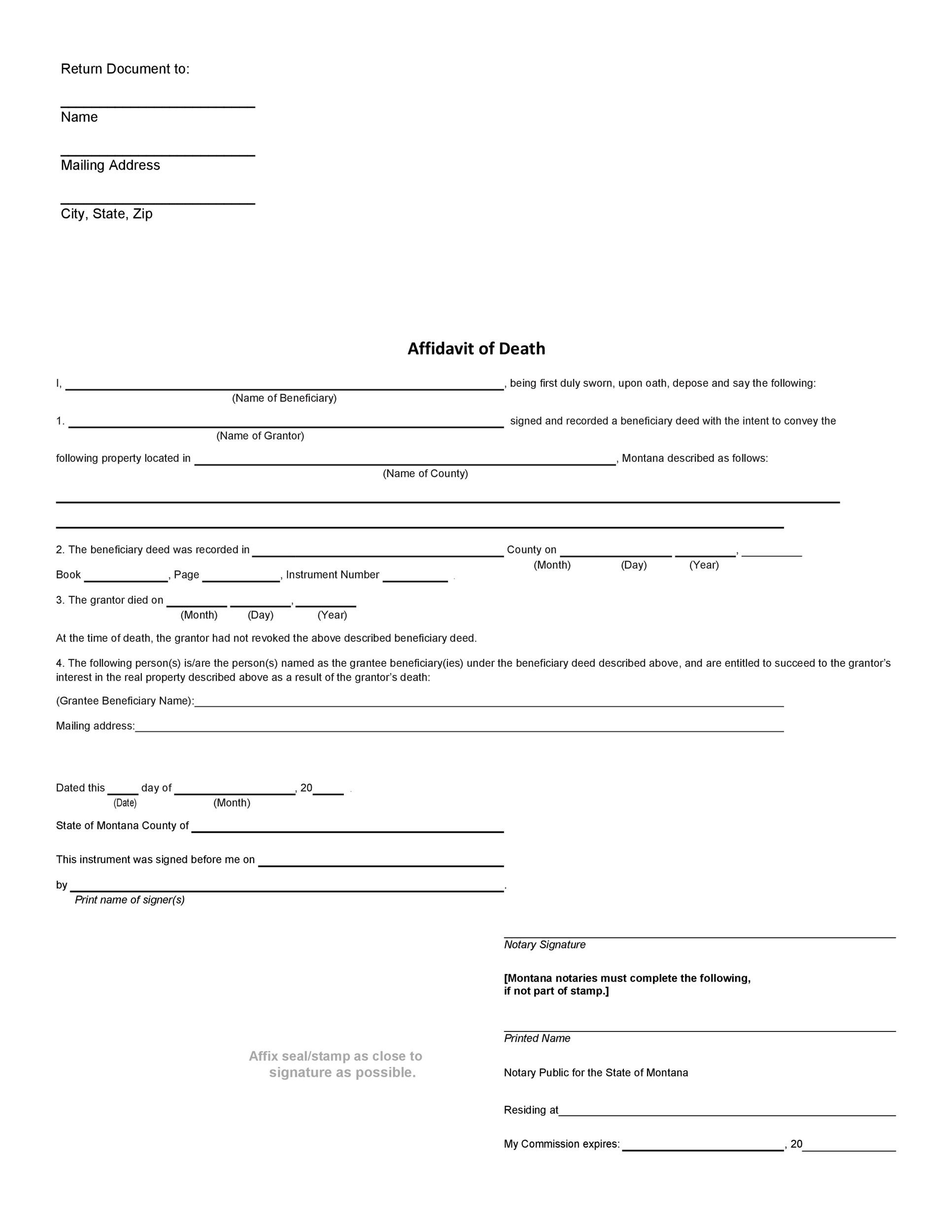 Free affidavit of death 34