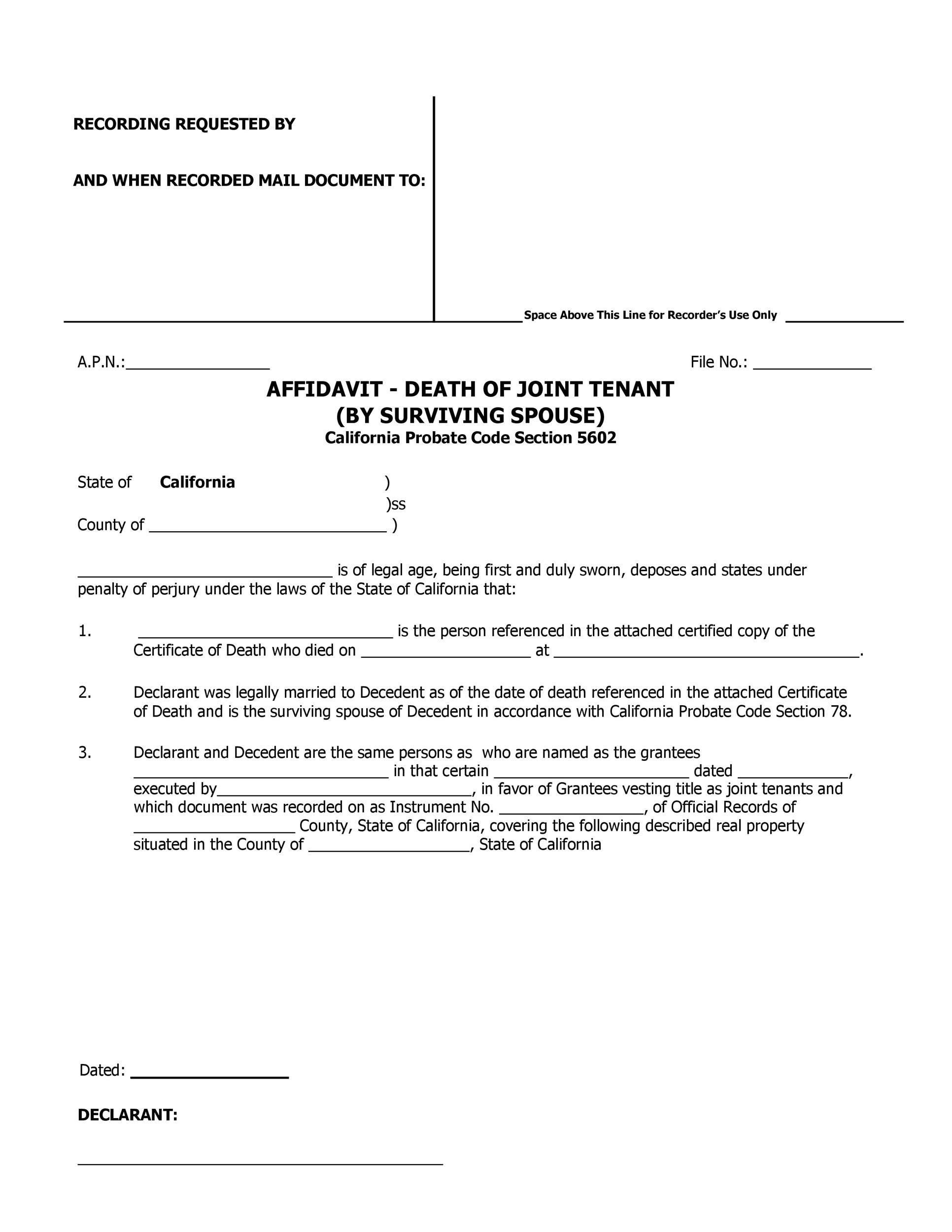 Free affidavit of death 38