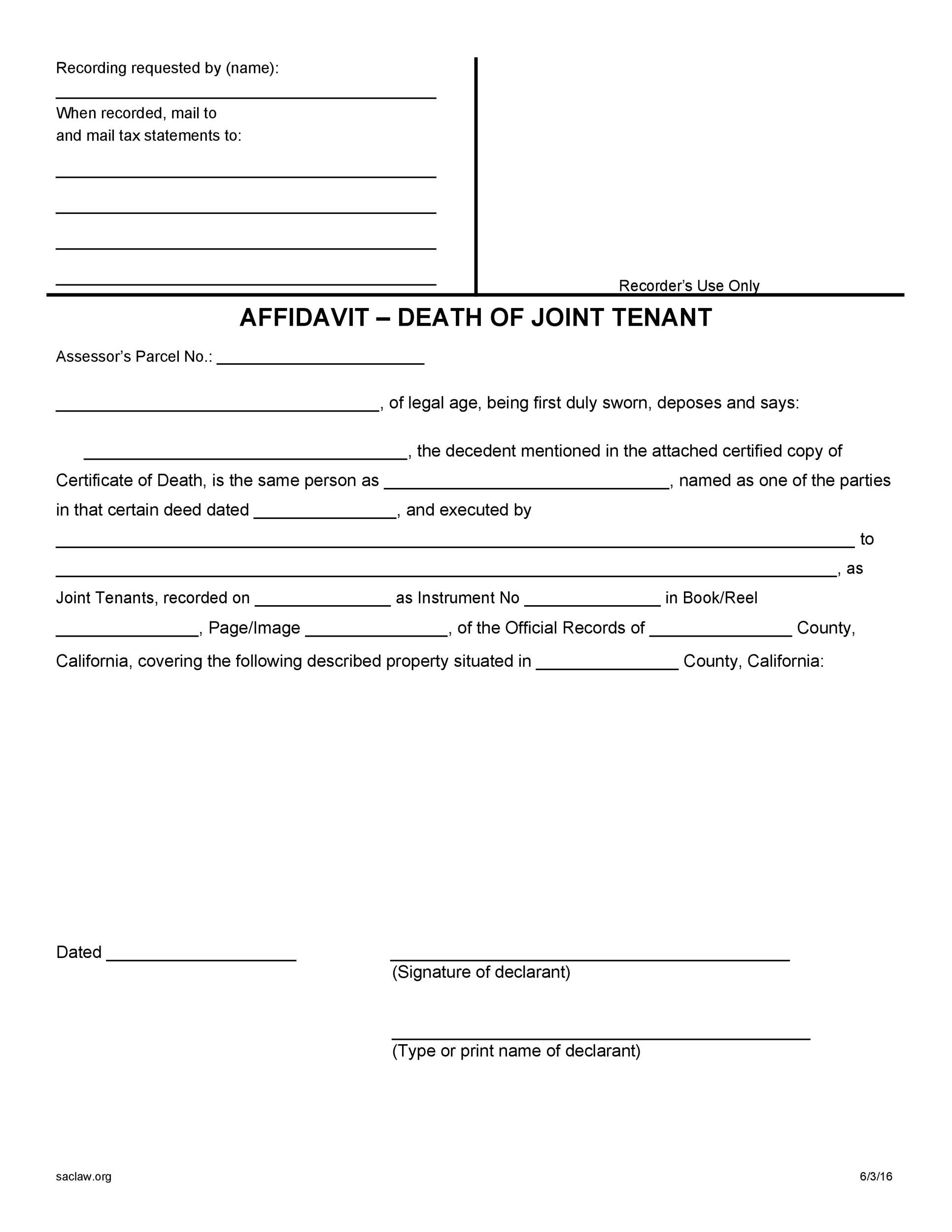 Free affidavit of death 39