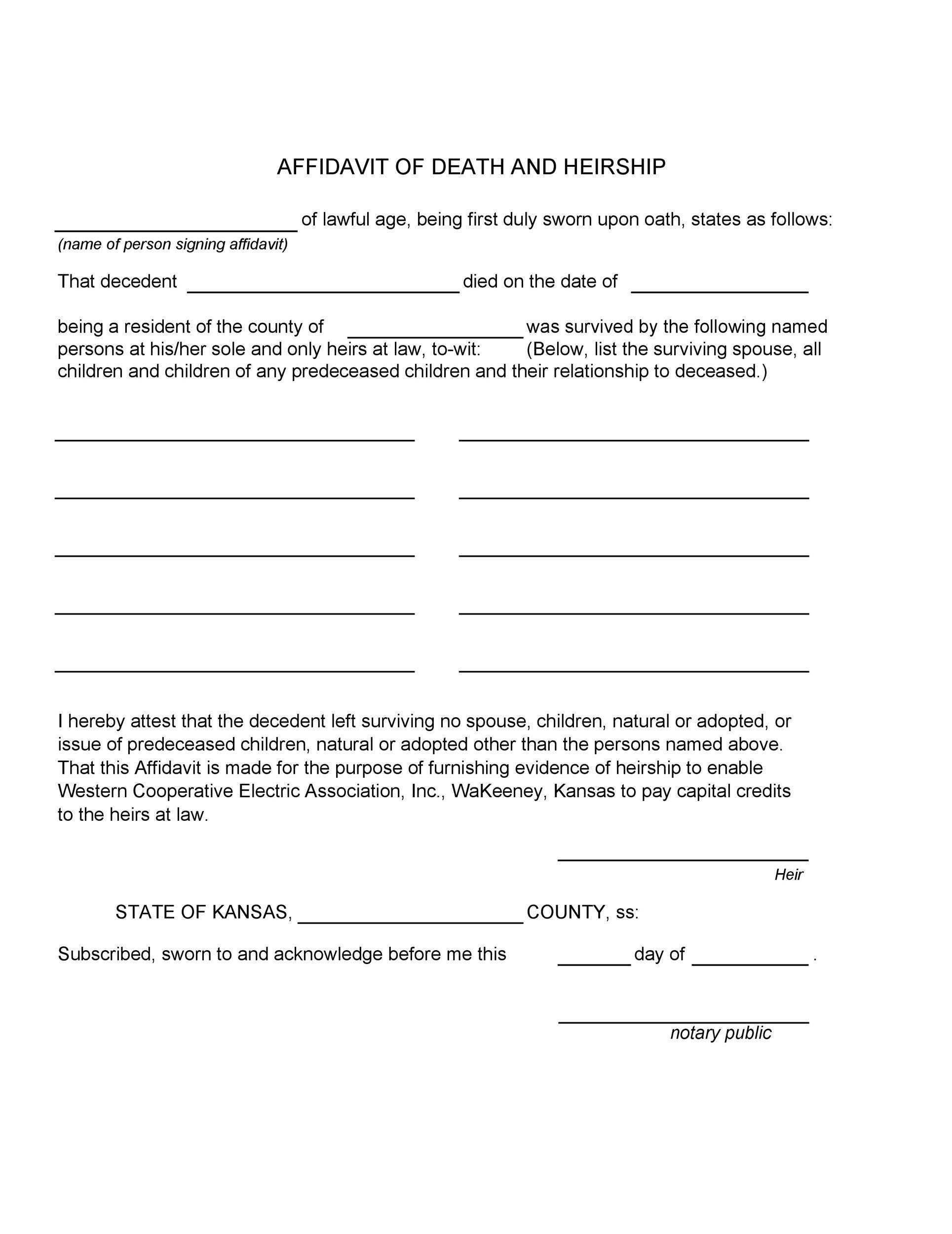Free affidavit of death 40