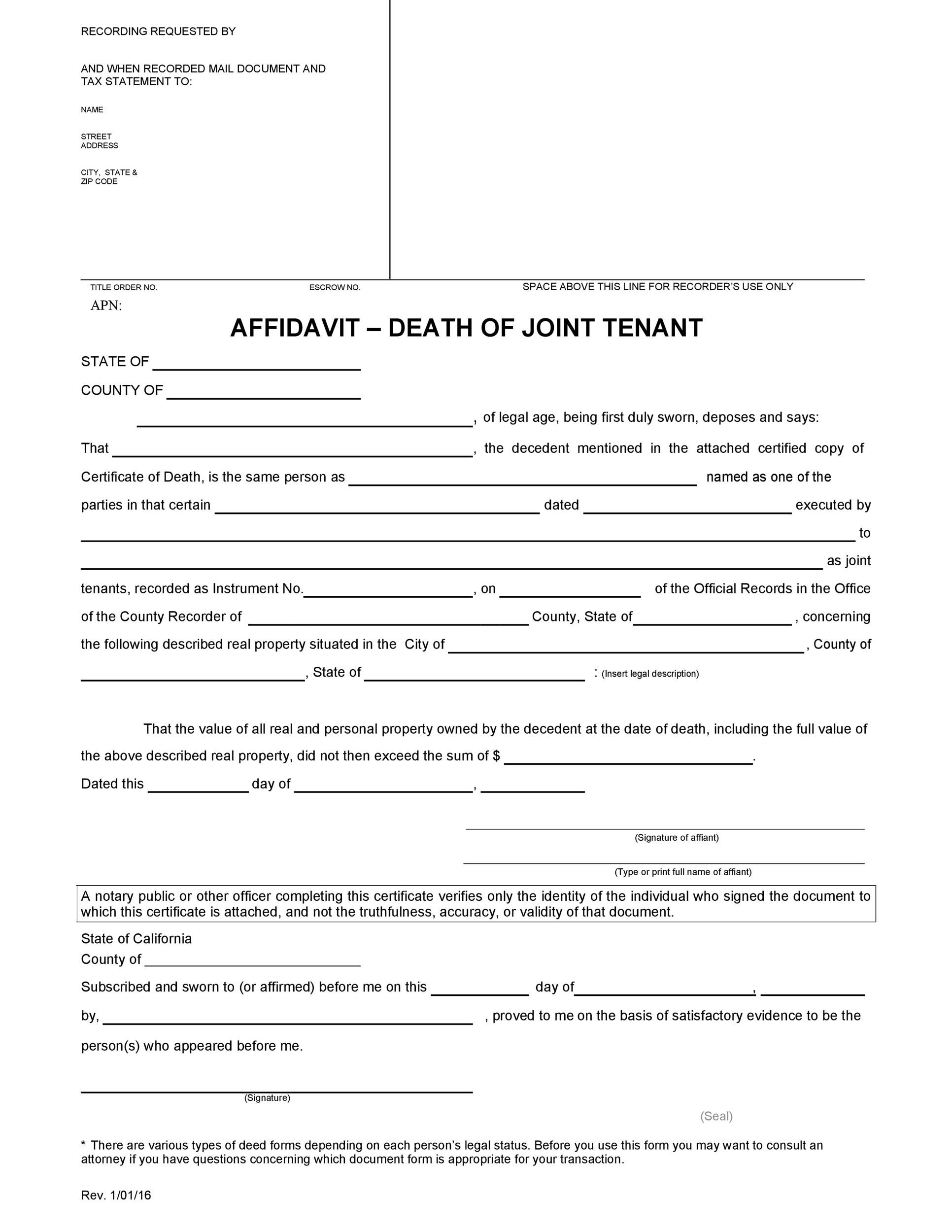 Free affidavit of death 42