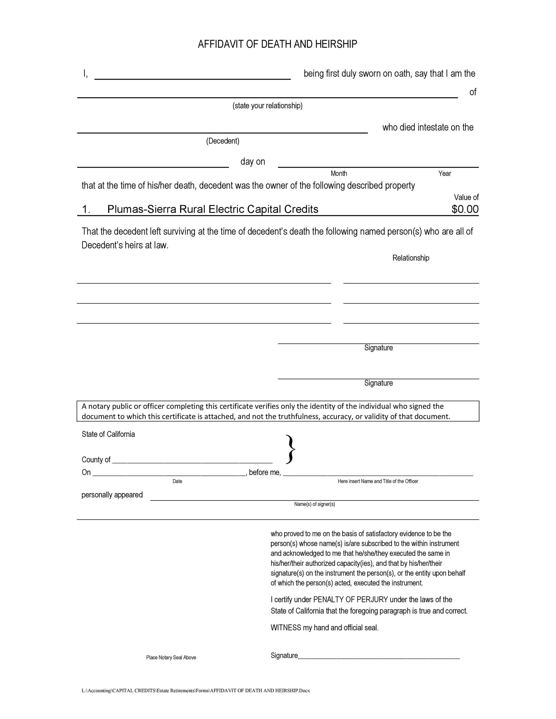 Free affidavit of death 44