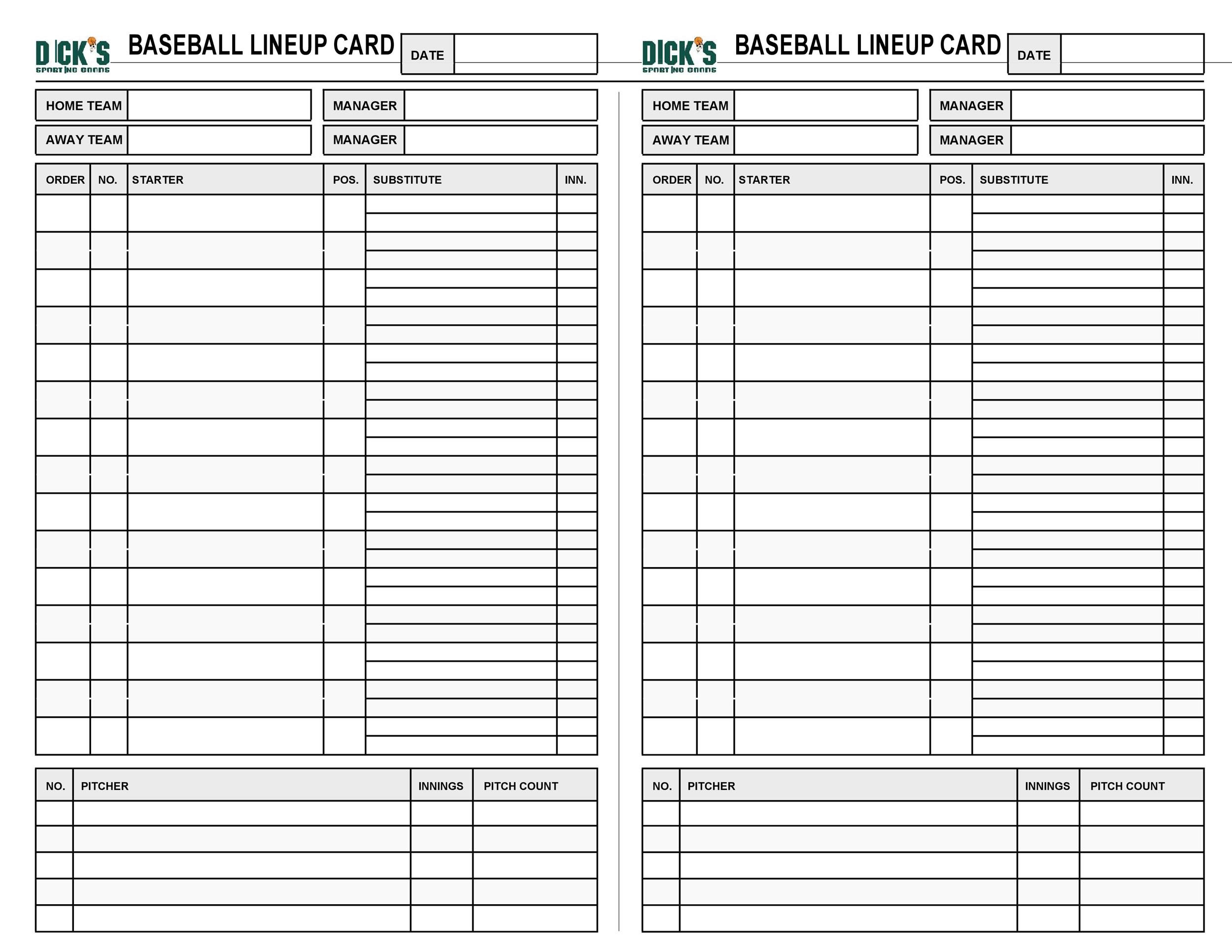 graphic about Printable Baseball Lineup Card identified as 33 Printable Baseball Lineup Templates [Cost-free Down load] ᐅ