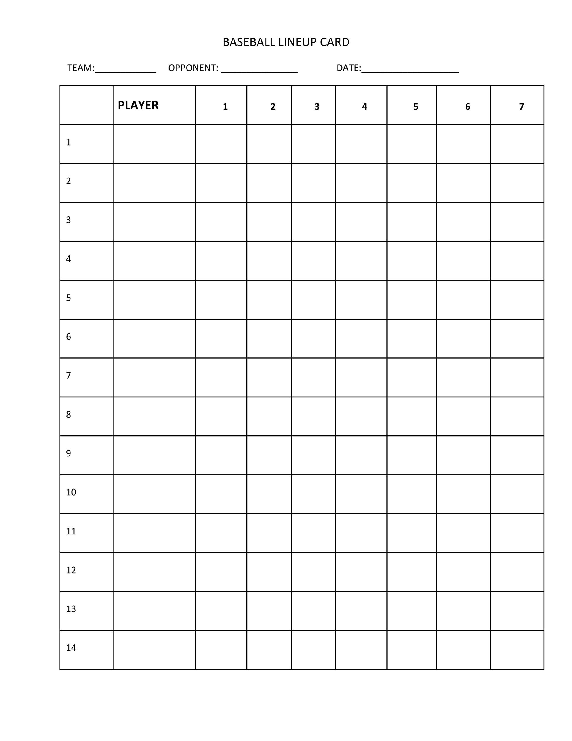 picture about Printable Baseball Lineup Cards called 33 Printable Baseball Lineup Templates [Totally free Down load] ᐅ