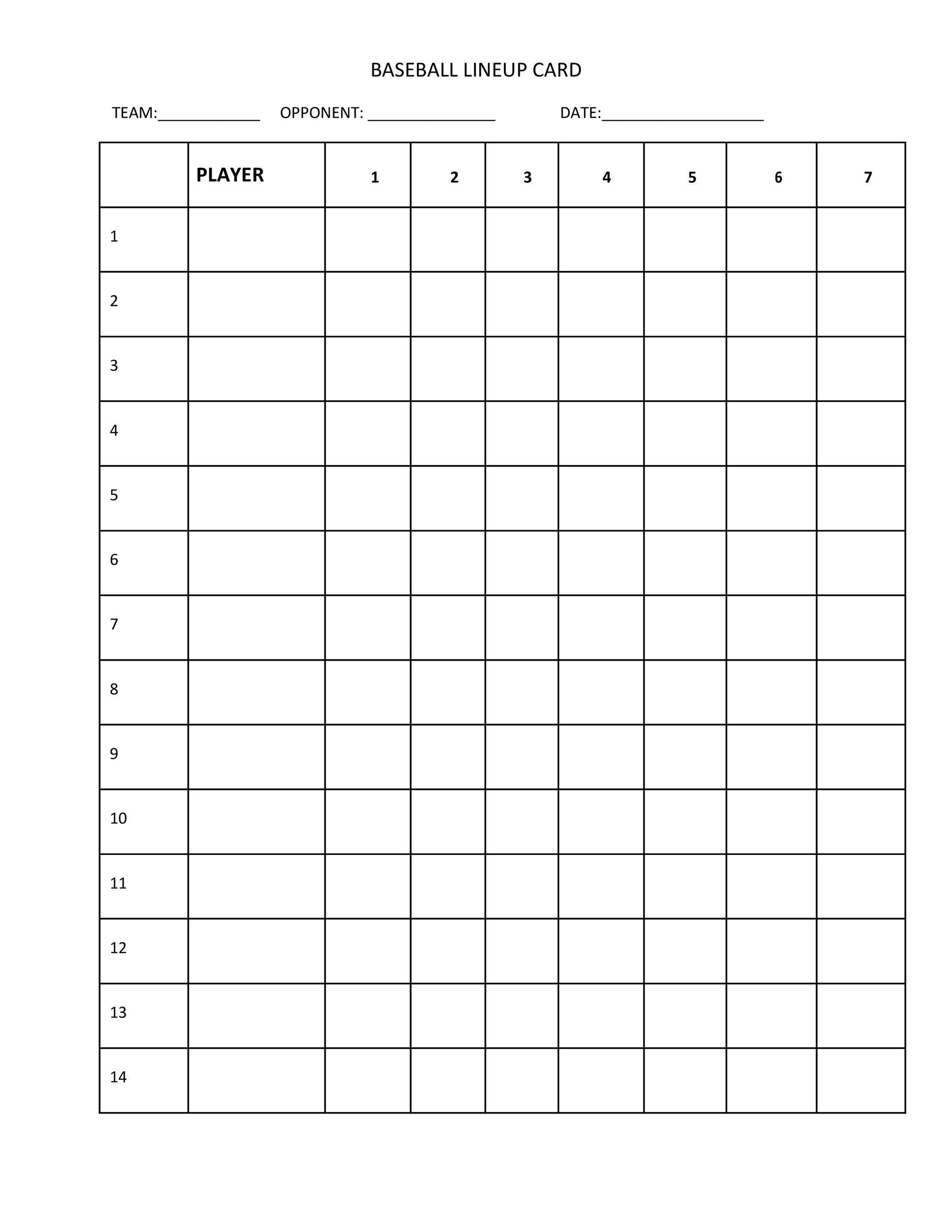 Free baseball lineup template 10