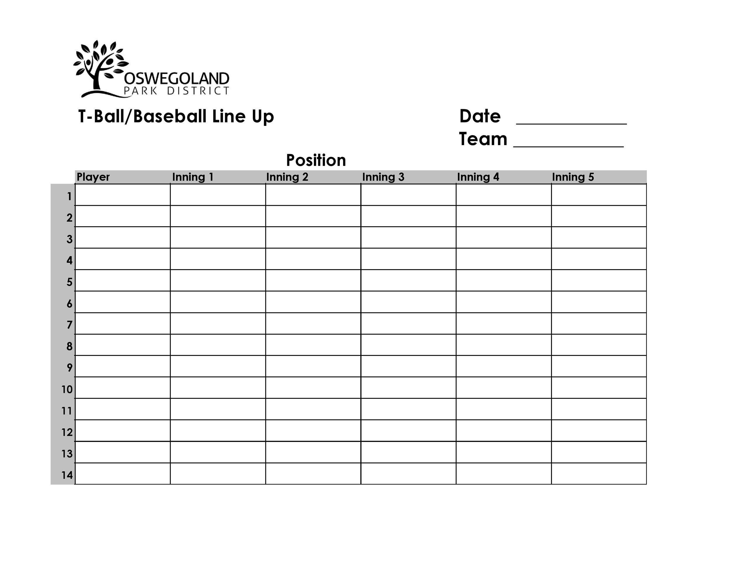 Free baseball lineup template 12